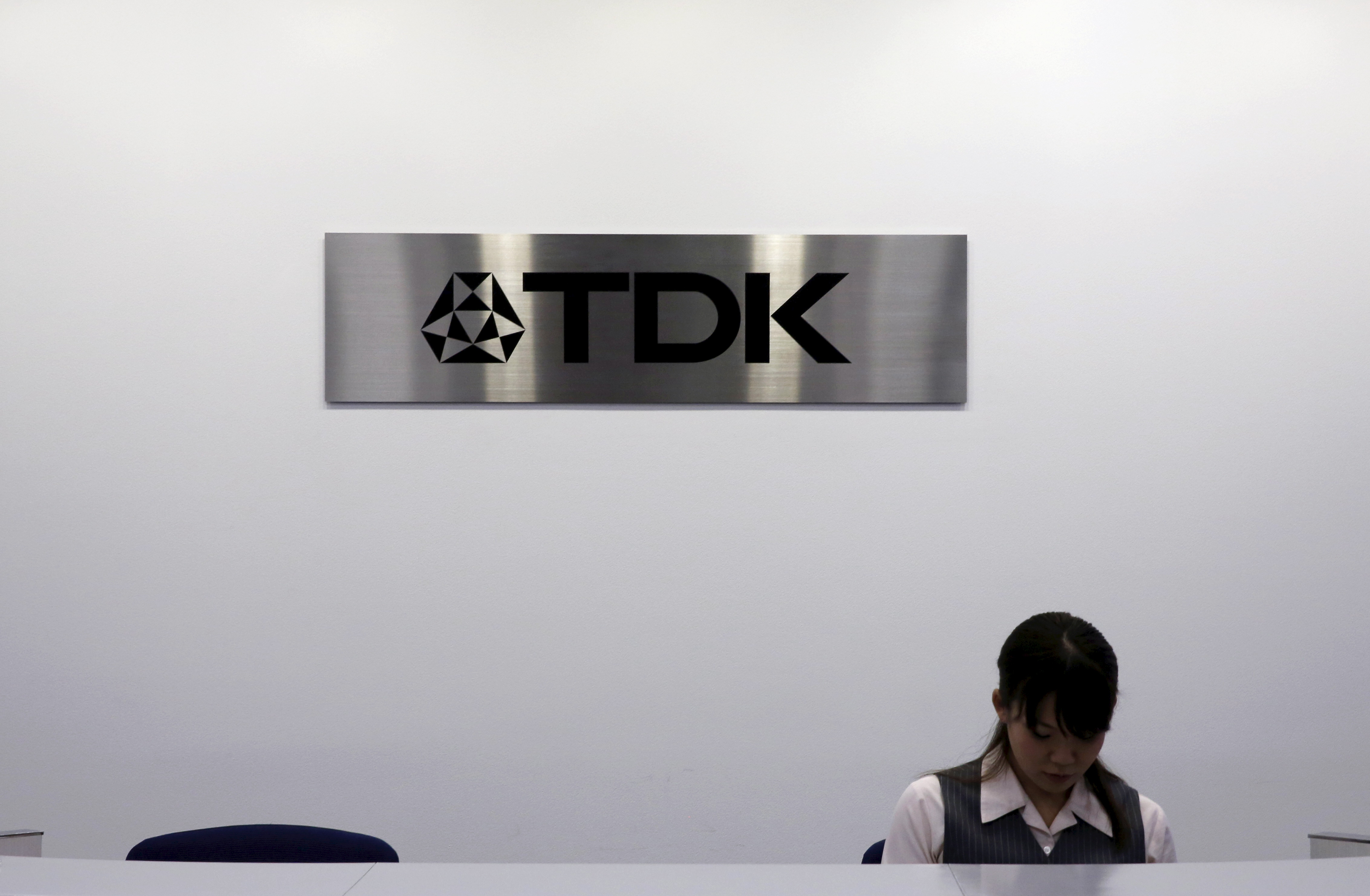 Logo of TDK Corp is pictured at the company headquarters in Tokyo