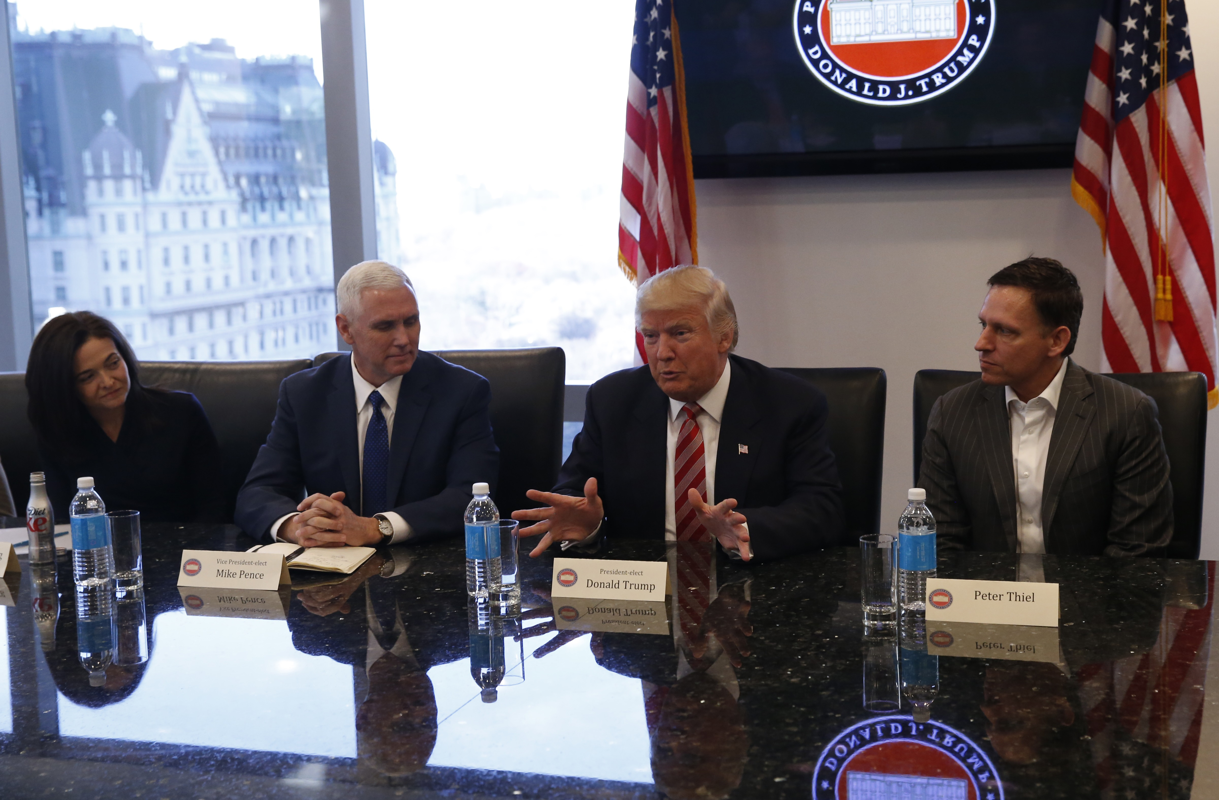 U.S. President-elect Donald Trump sits with business and technology leaders at Trump Tower in New York