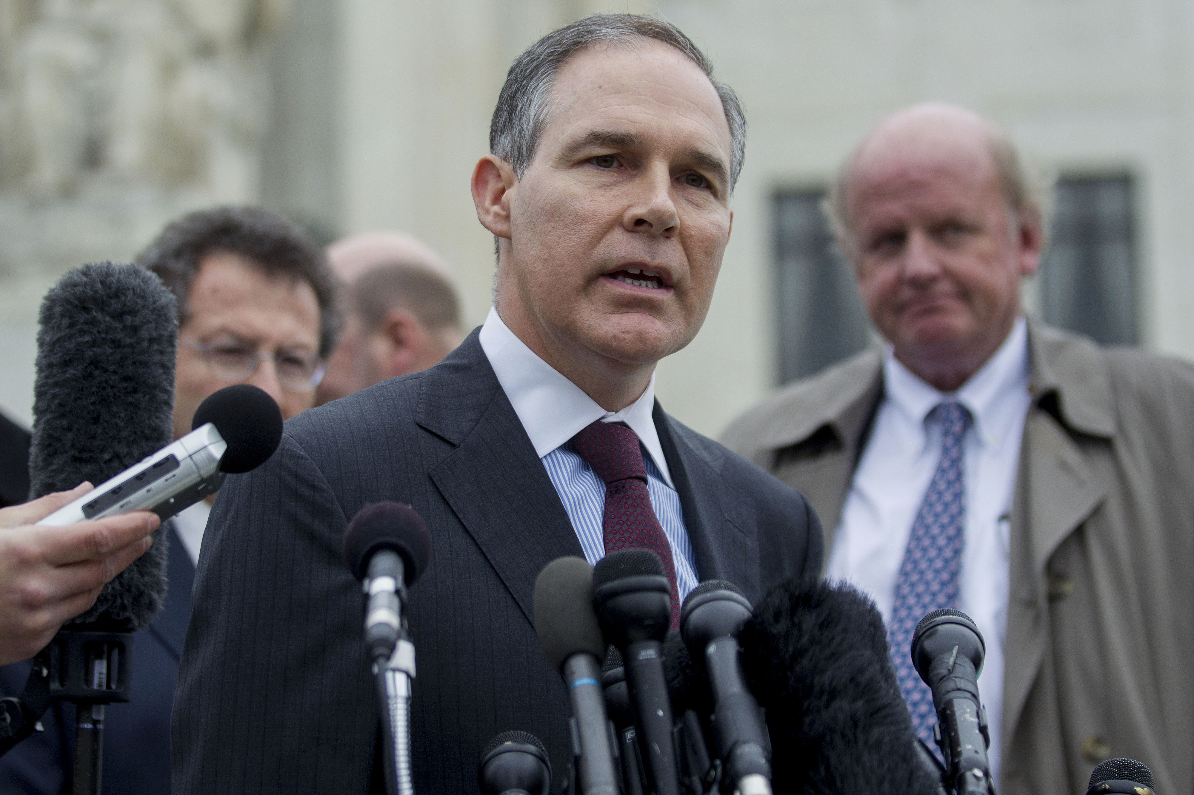 Scott Pruitt, attorney general of Oklahoma. speaks to the media in front of the U.S. Supreme Court in Washington, D.C., U.S., on Wednesday, March 4, 2015.