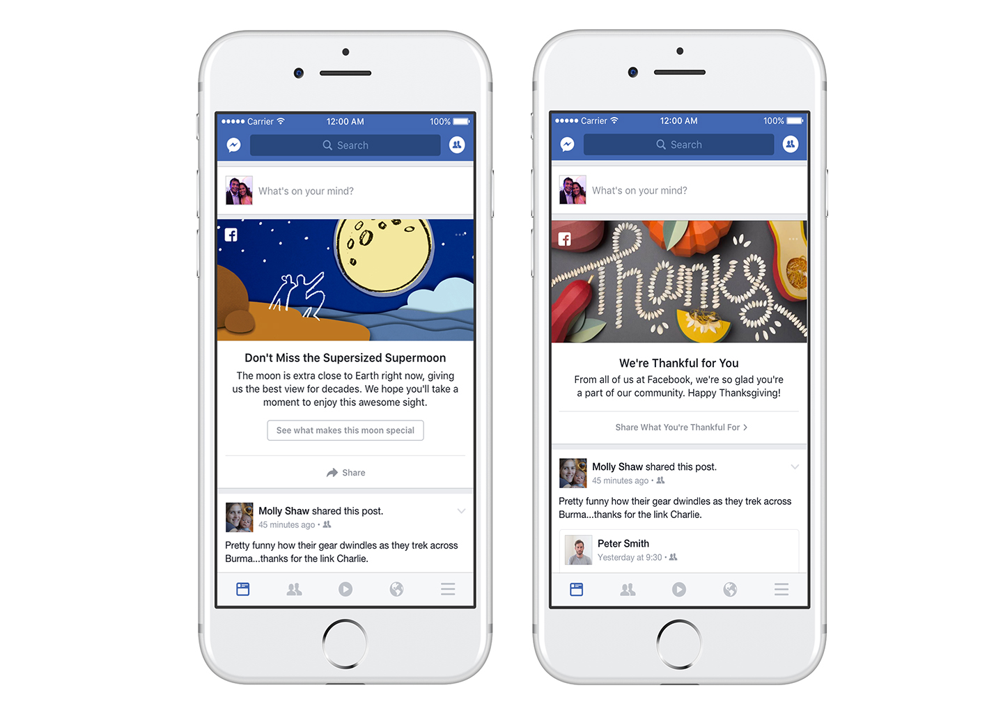 """Screenshots showing recent examples Facebook's shareable news feed """"moments."""""""