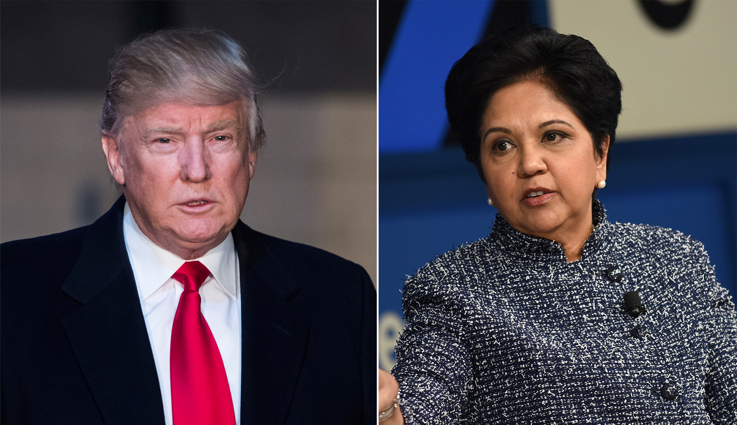 President-elect Donald Trump, left, and Chairman and CEO of PepsiCo Indra Nooyi, right.