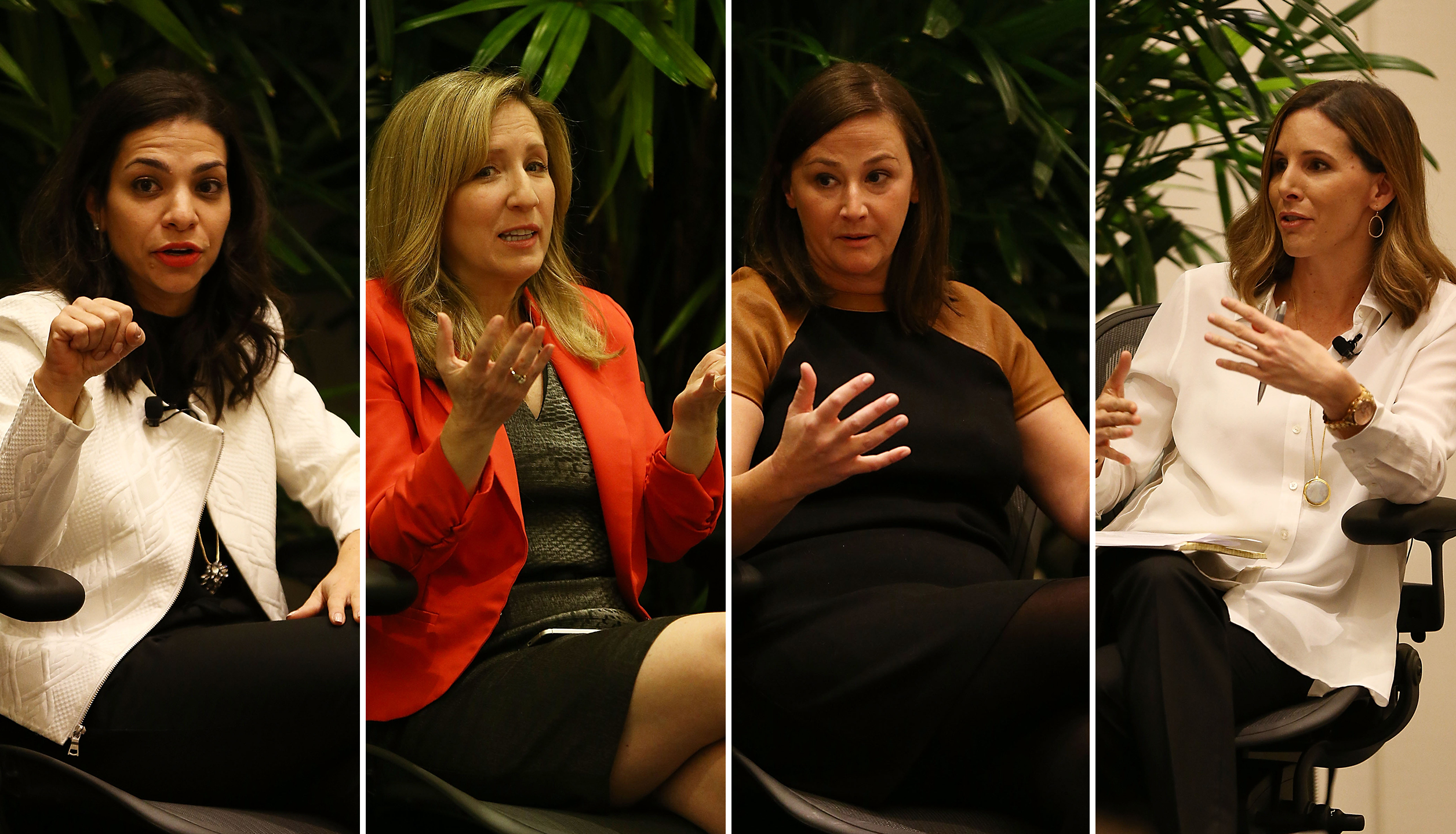 Nairi Hourdajian, left, Jennifer Dulski, Brooke Buchanan, and moderator Leigh Gallagher onstage during the Crisis Management panel at Fortune MPW Next Gen 2016 on November 30, 2016 in Dana Point, California.