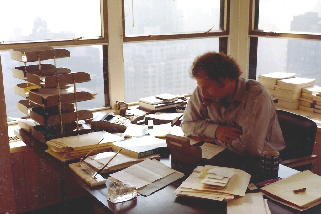 Greenburger working in his Father's literary agency in the mid-seventies.