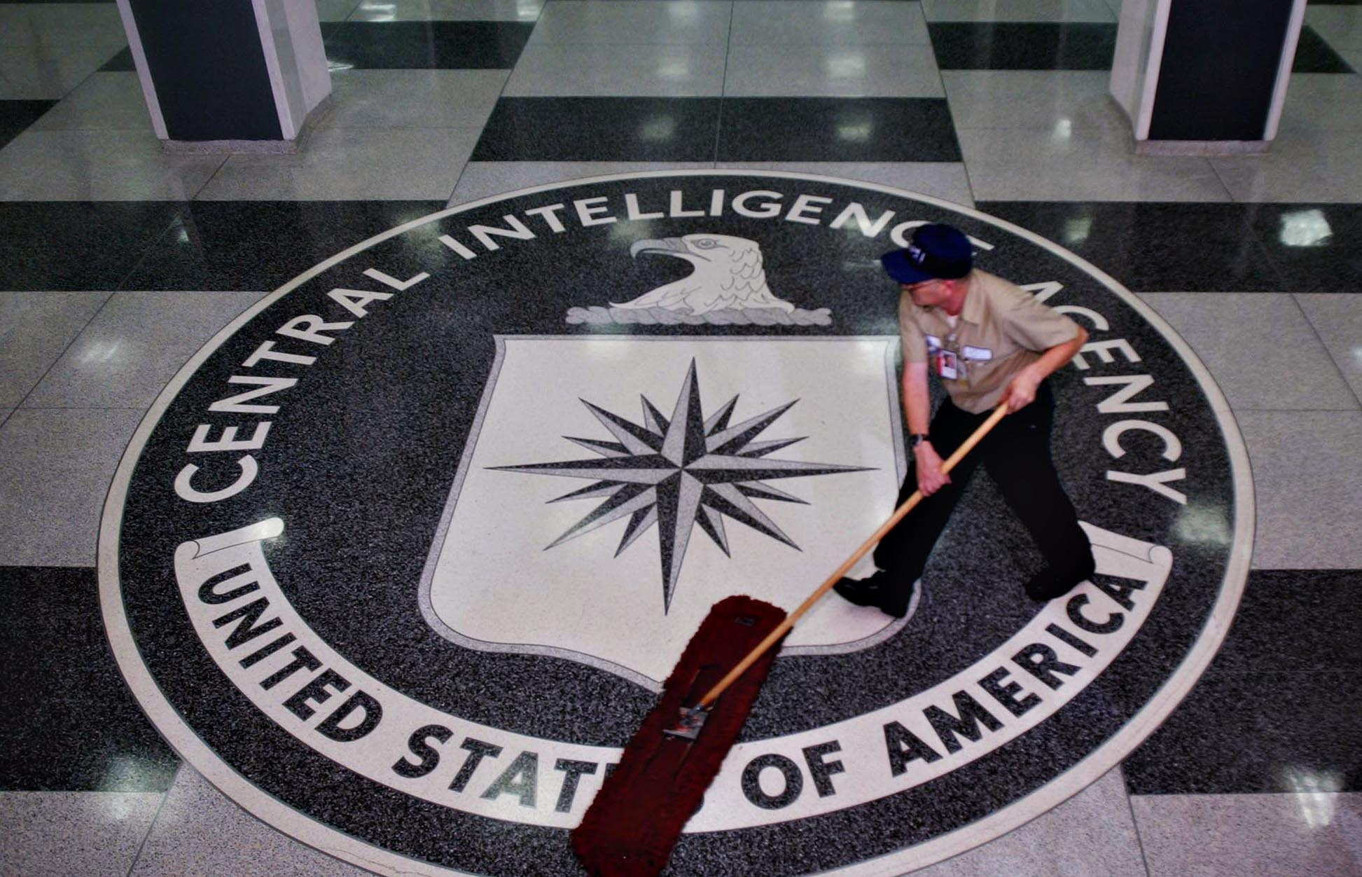 A worker at a Central Intelligence Agency headquarters clean