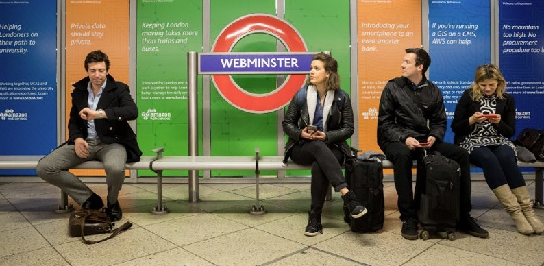"Amazon Web Services refashioned Westminster Tube Station as ""Webminster."""