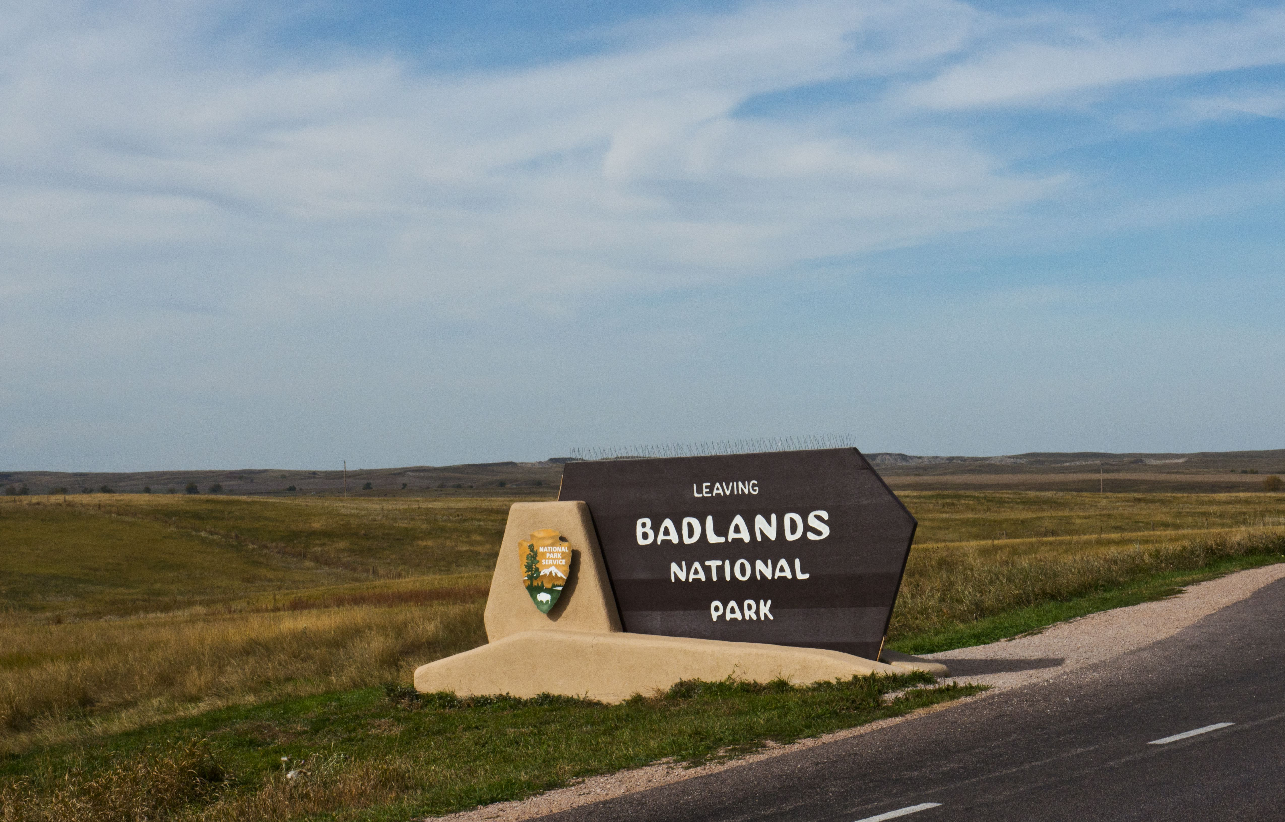 South Dakota, Wall, Badlands National Park, Loop Road, Badlands Monument Entrance Sign