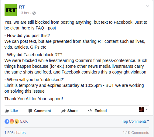 Russia Today Facebook post