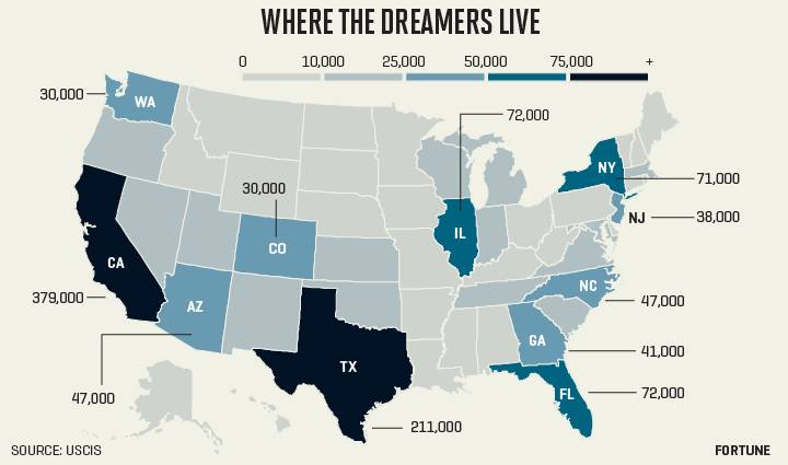 """Map shows number of deferred action under the """"Dream Act"""""""