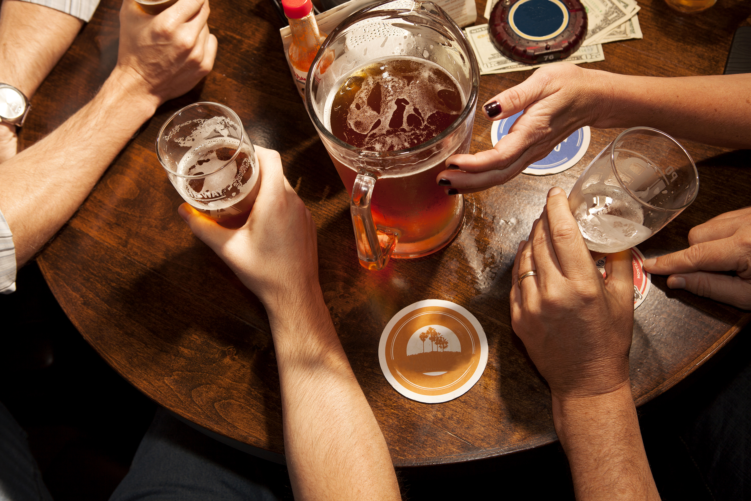 people drinking beer, shot from overhead