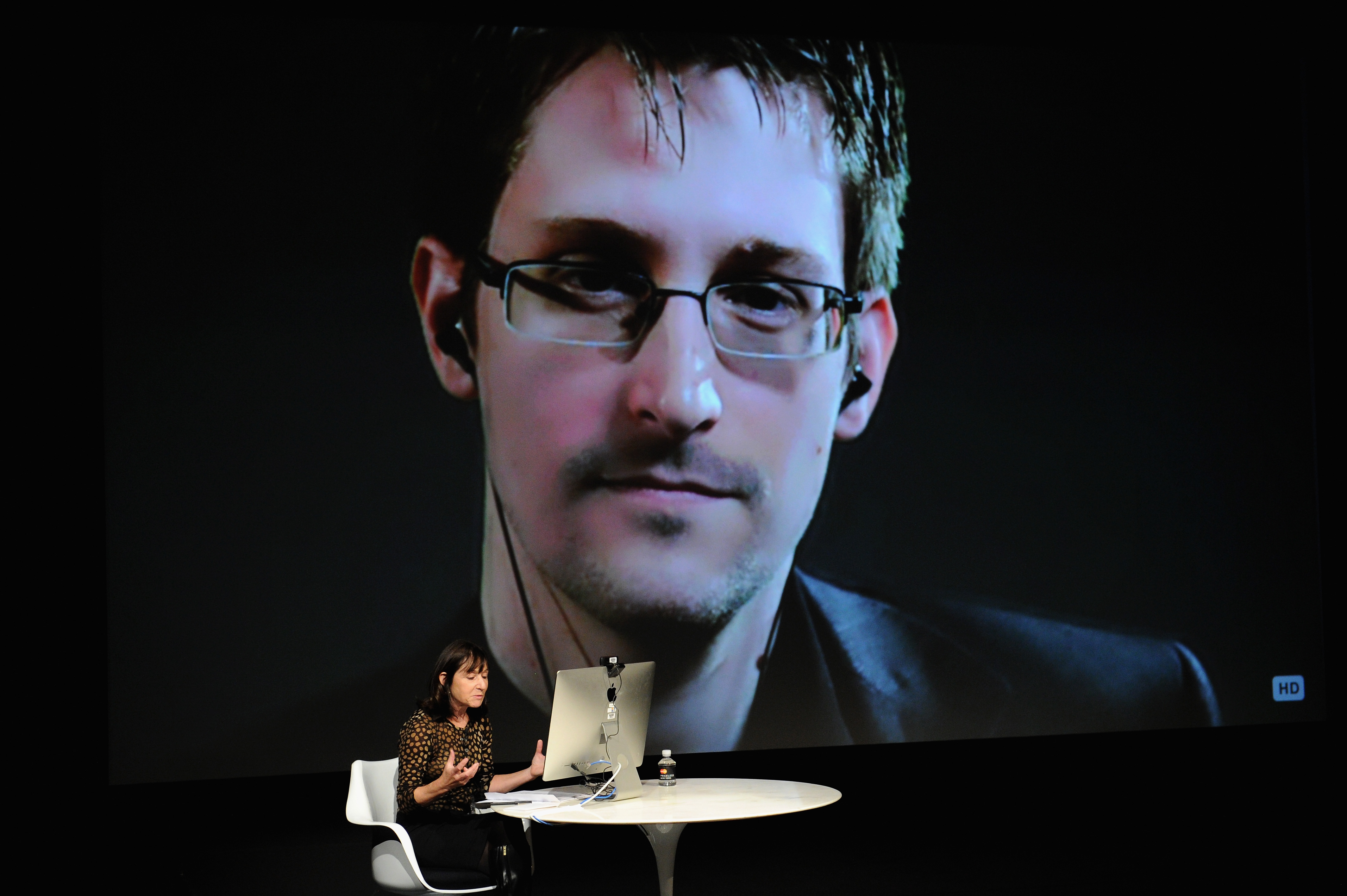 General view of atmosphere at the Edward Snowden Interviewed by Jane Mayer at the MasterCard stage at SVA Theatre during The New Yorker Festival 2014 on October 11, 2014 in New York City.