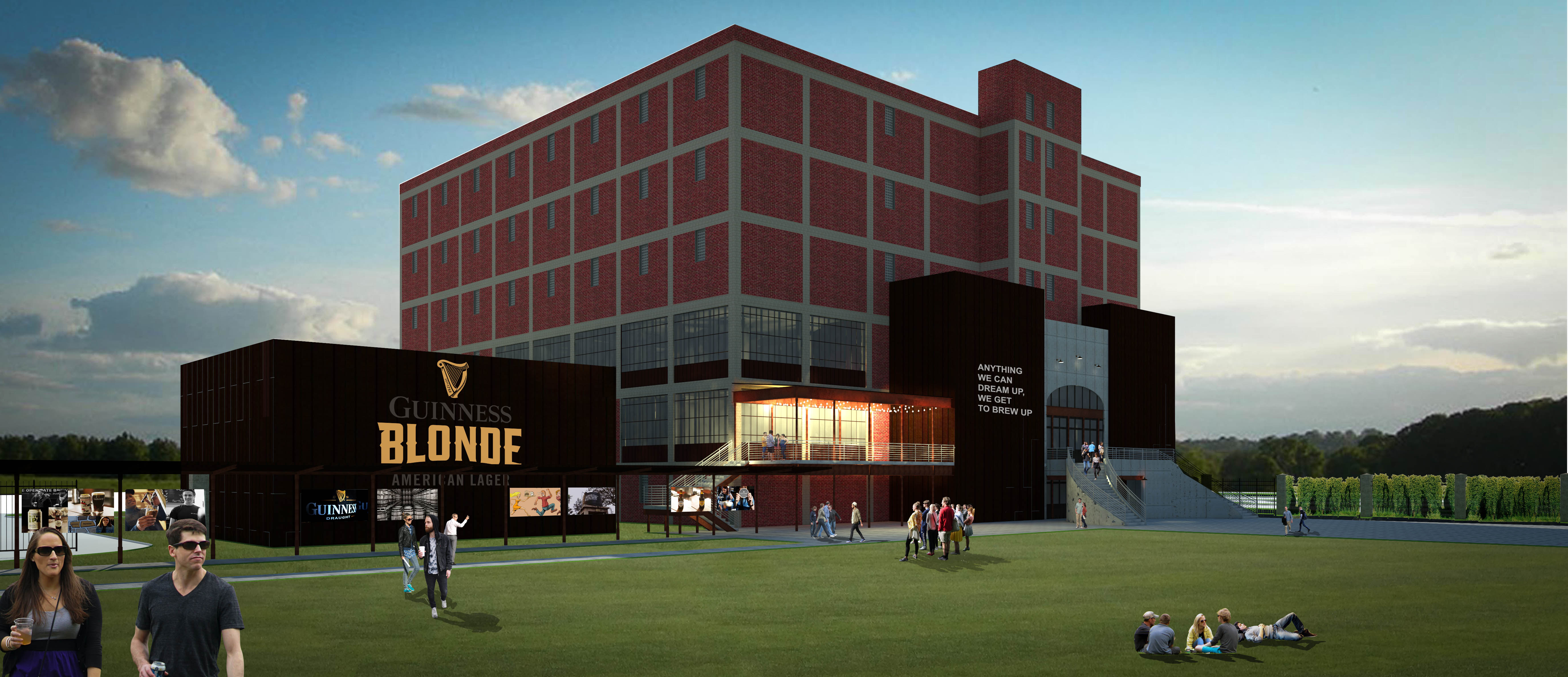 Diageo announced plans to build a US version of Dublin's Guinness Open Gate Brewery in Baltimore County, Maryland. A rendering of the brewery is shown above.