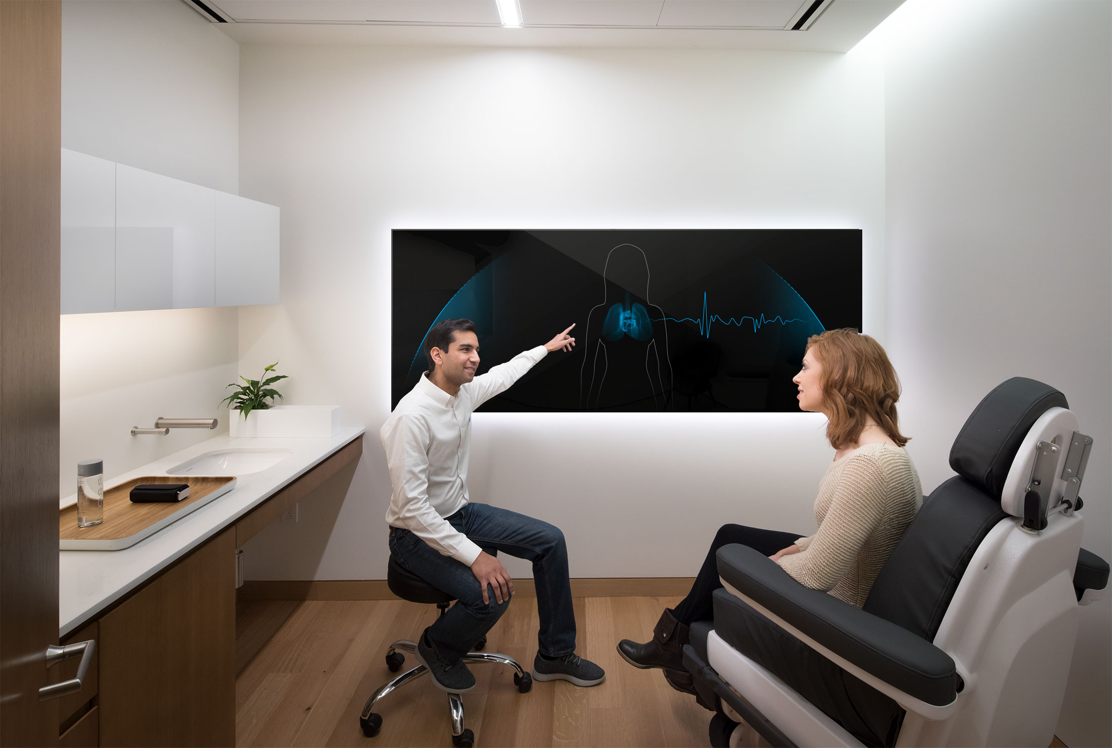 A physical-digital blend of a doctor's office at Forward.