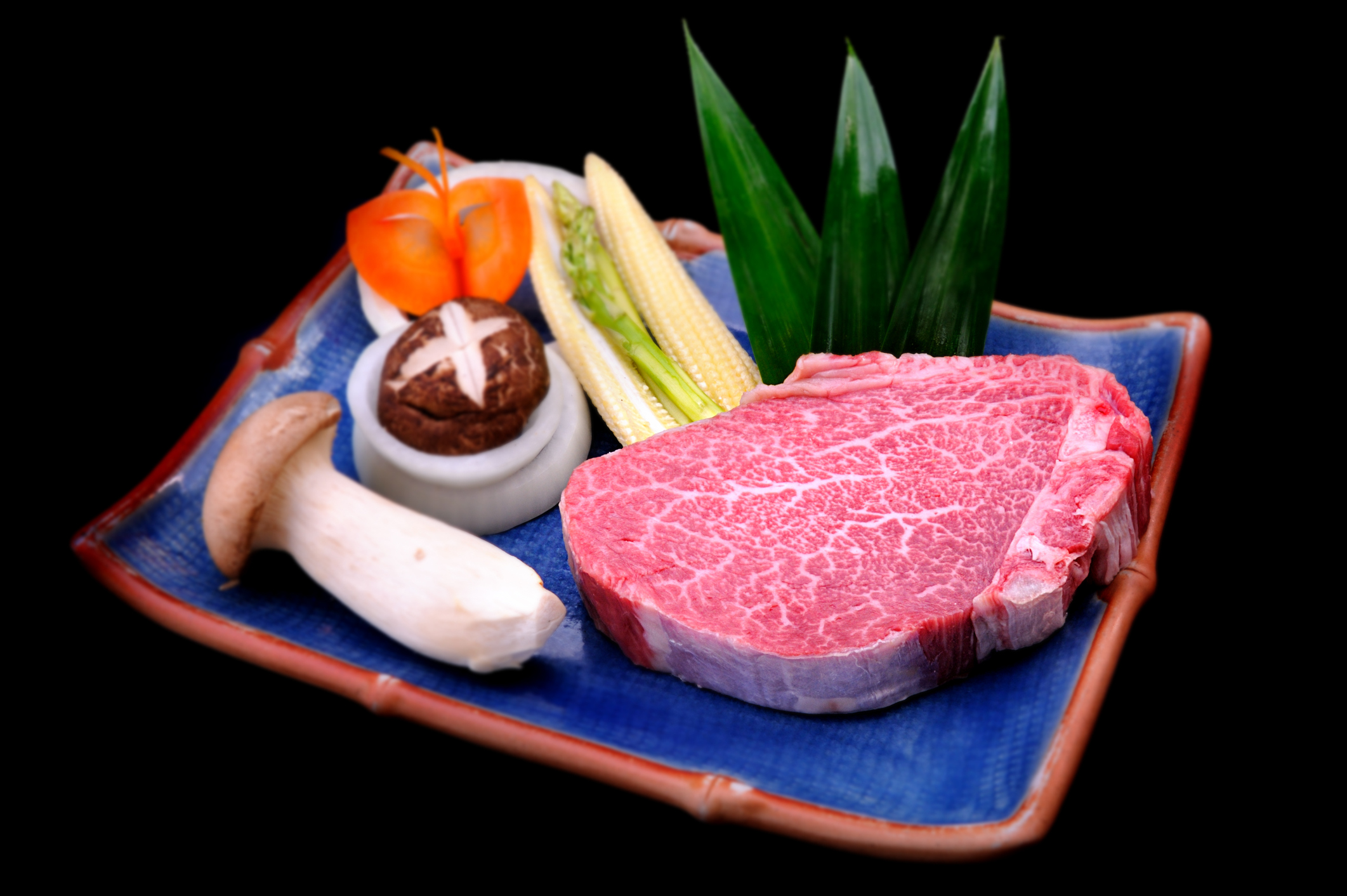 Fresh Kobe Miyazaki beef in black background