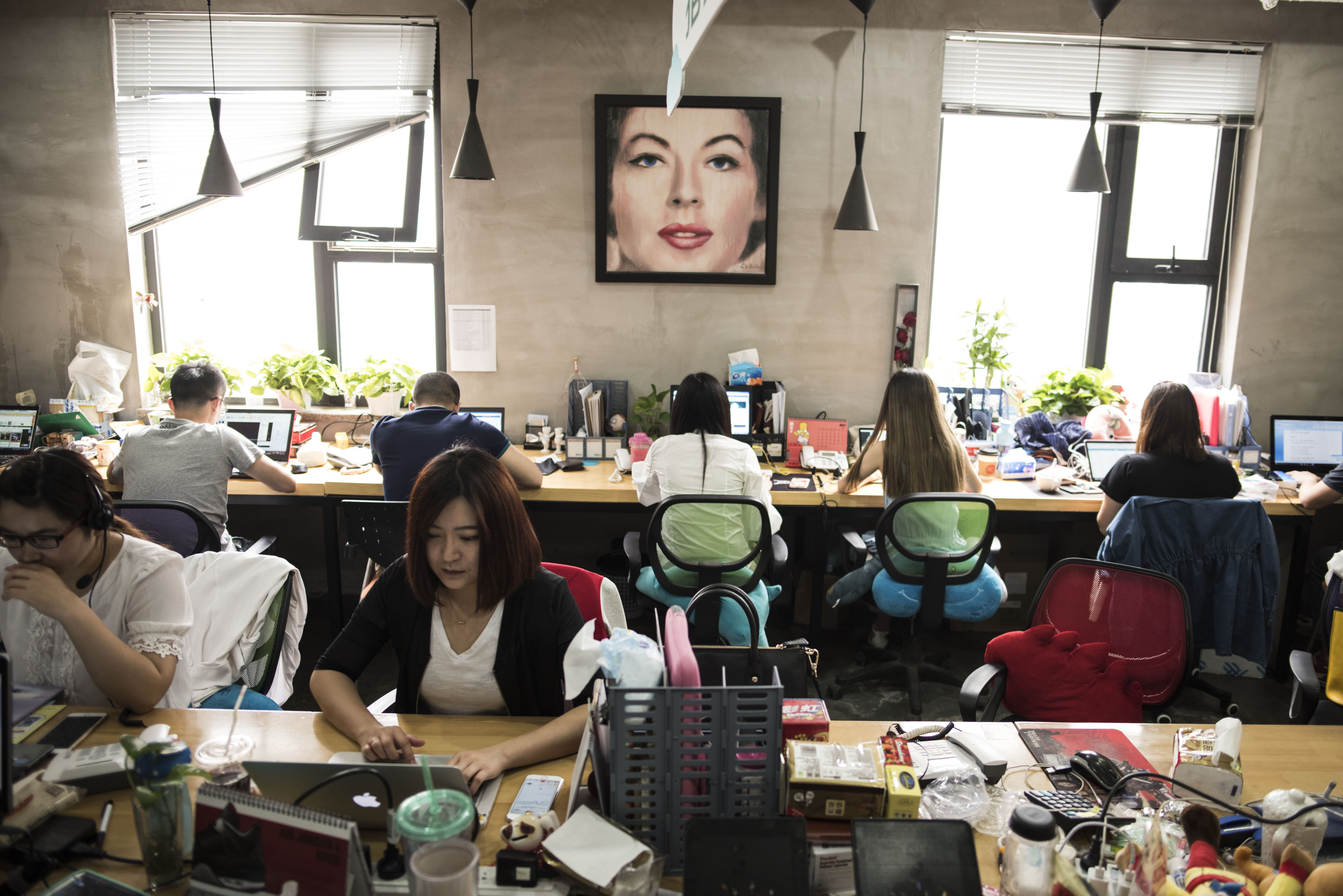 BEIJING, CHINA - MAY 23  Internet start up employees work on th