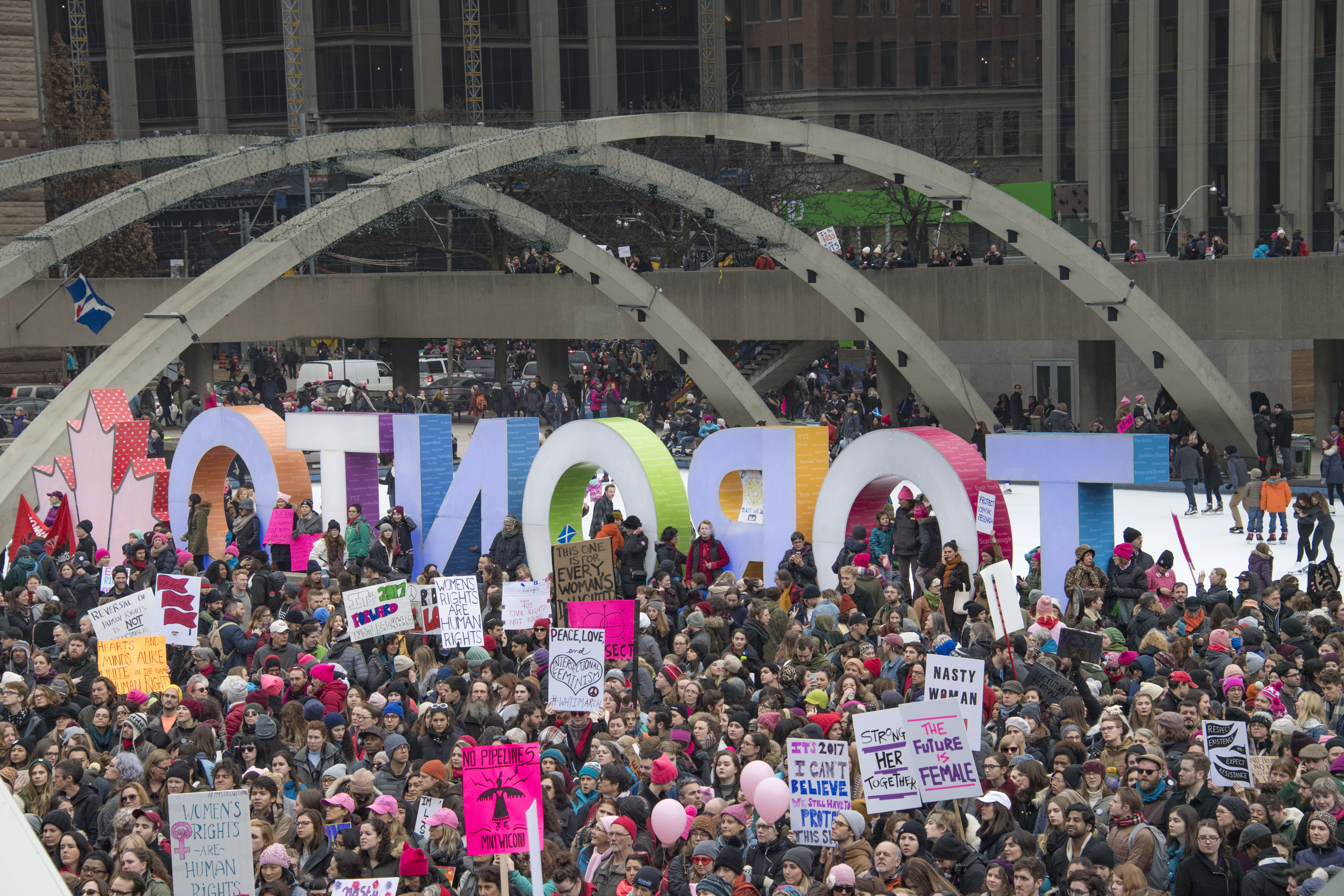 Women and their allies marched in support of the Women's