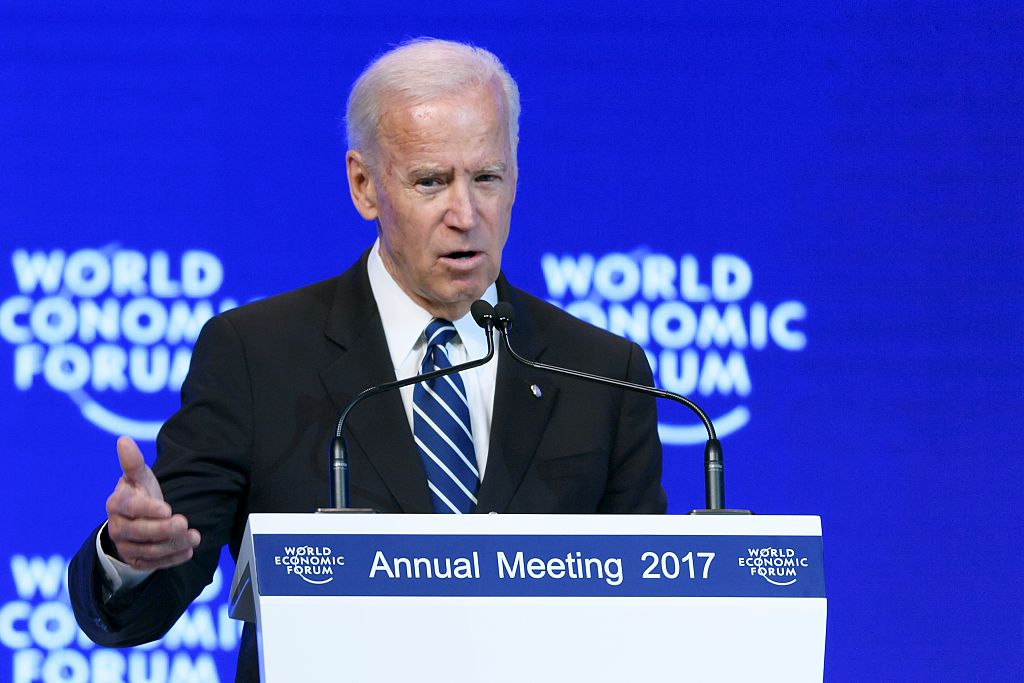 Joe Biden addresses the assembly on the second day of the World Economic Forum, on Jan. 18, 2017 in Davos.