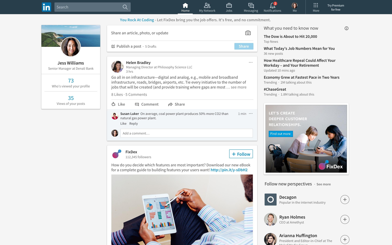 New LinkedIn feed.