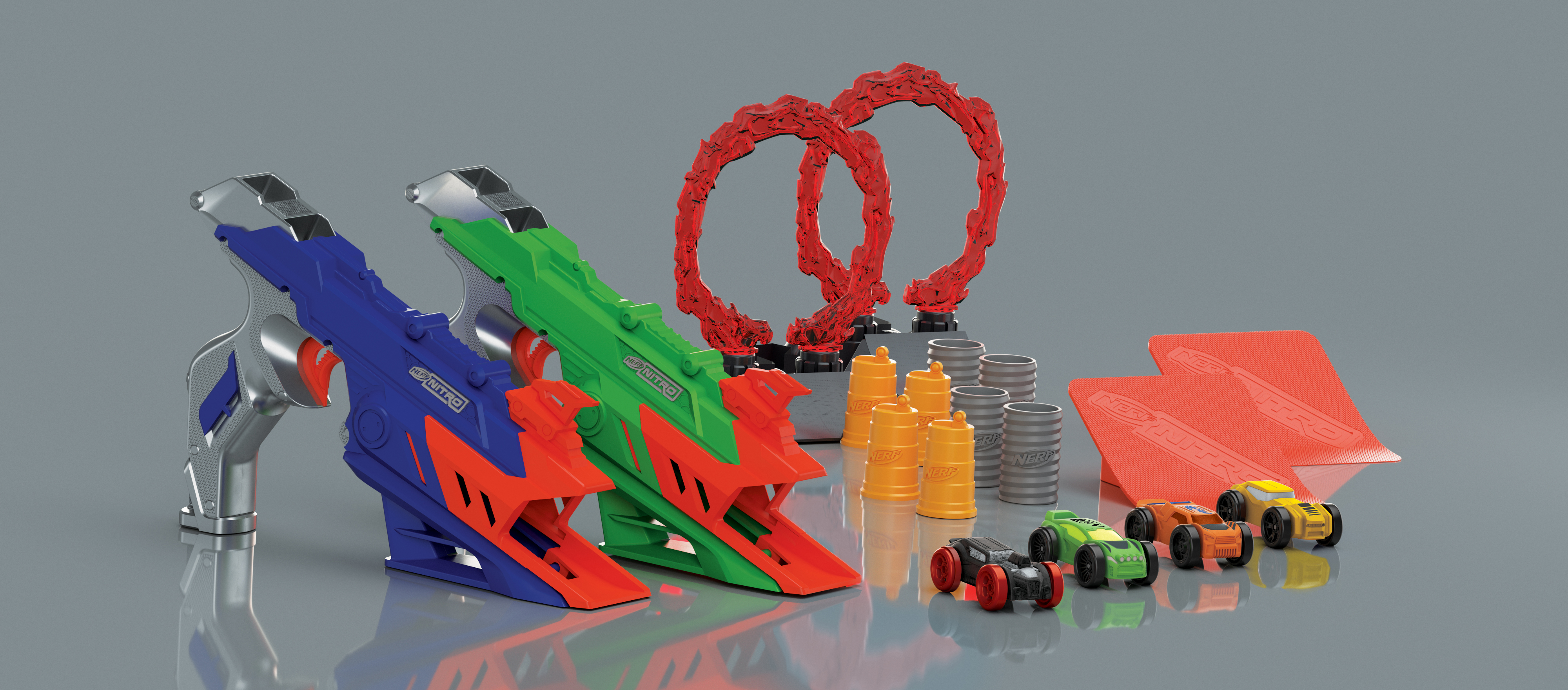 Hasbro's Nerf brand this year is debuting Nerf Nitro, a line that features foam toy cars.