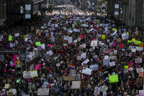 Demonstrators Take Part In The Women's March On New York City Following The Inauguration Of President Trump