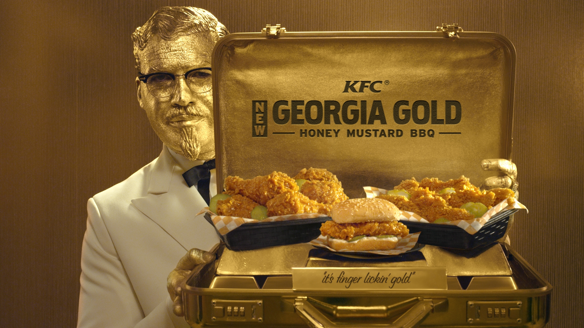 KFC's latest ads to support the new Georgia Gold Honey Mustard BBQ chicken features actor Billy Zane.