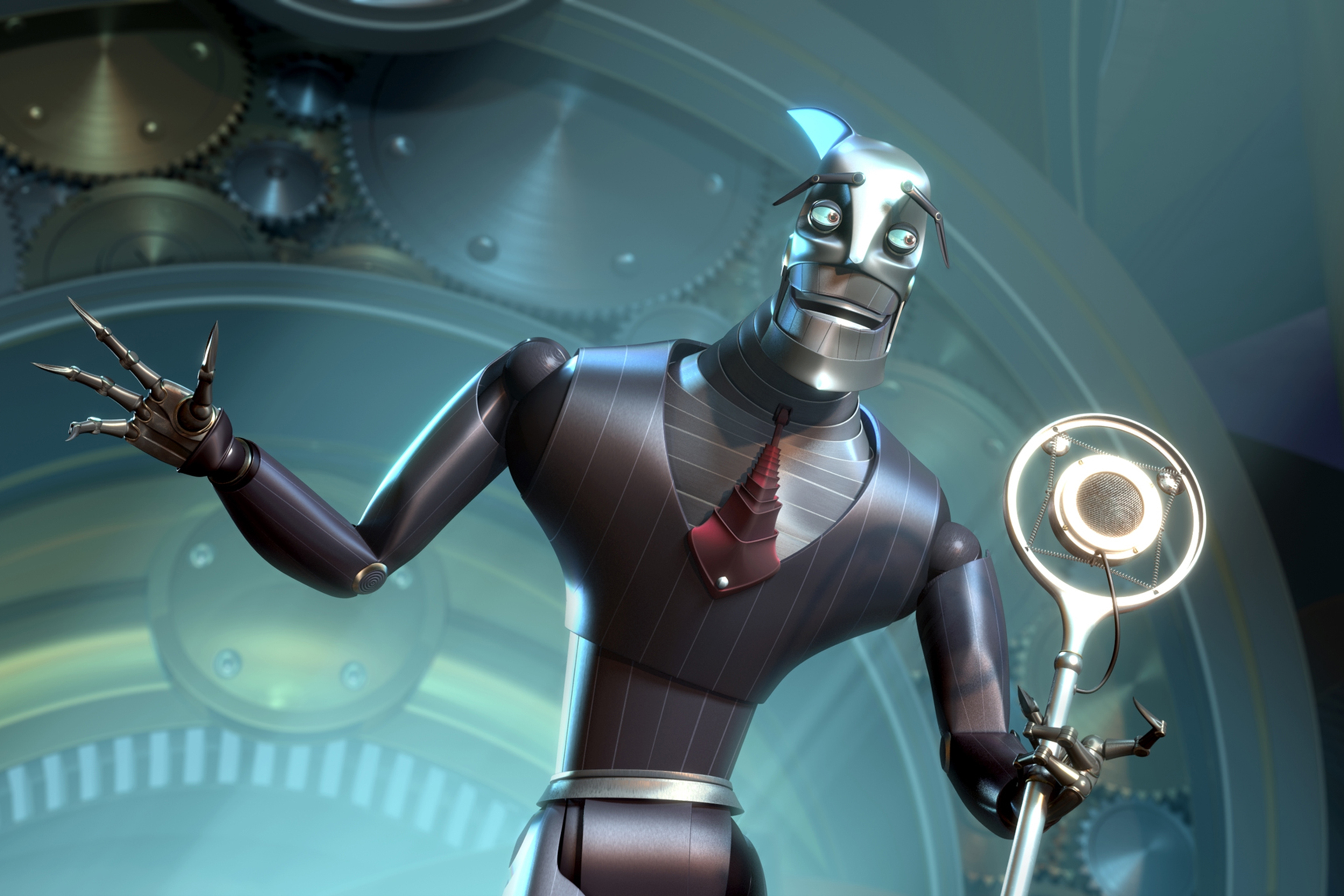 Ratchet, a greedy arrogant robot voiced by actor Greg Kinnear in the animated film 'Robots' released in 2005.