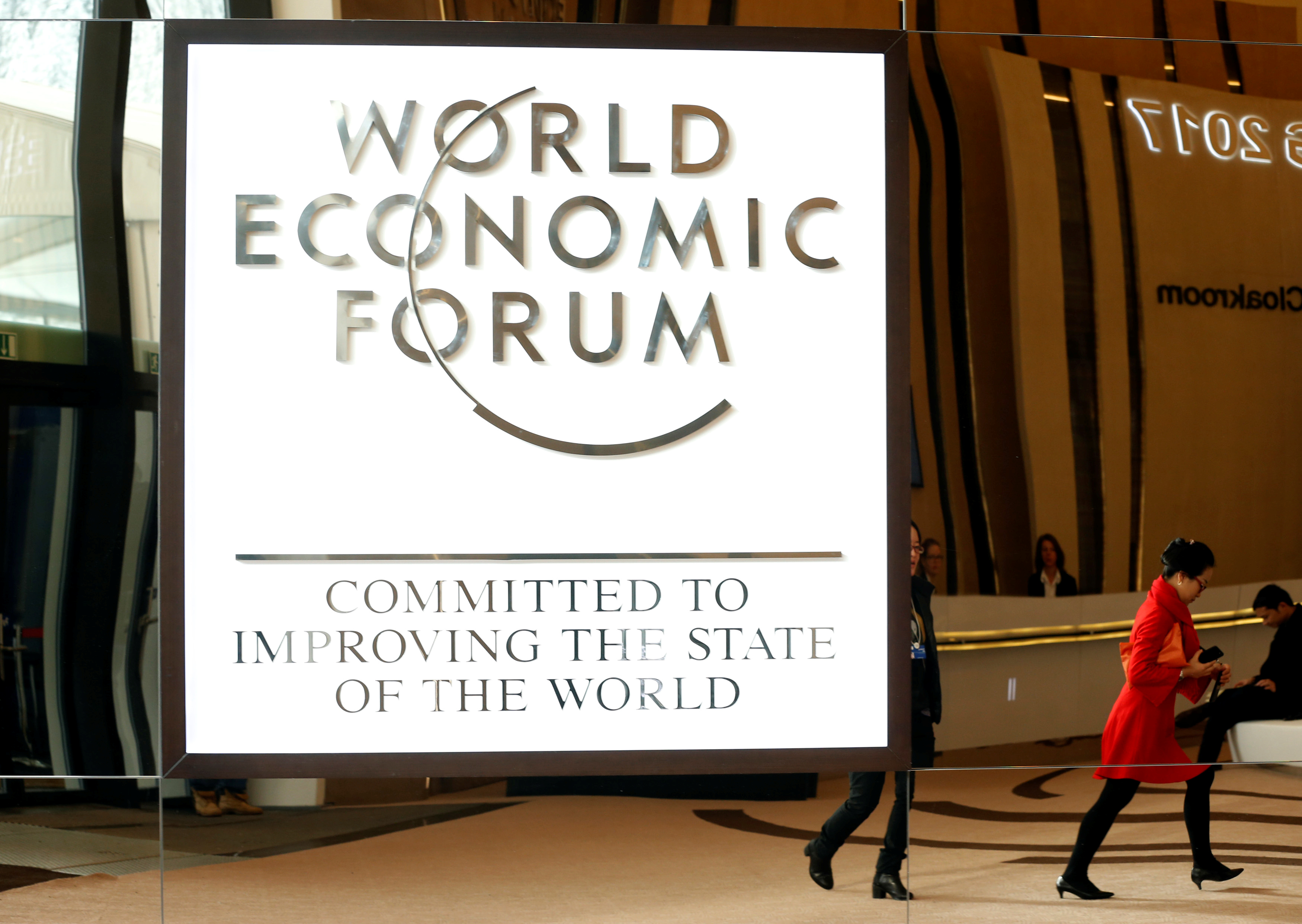 The logo of the World Economic Forum is seen in the congress center of the annual meeting of the World Economic Forum (WEF) in Davos