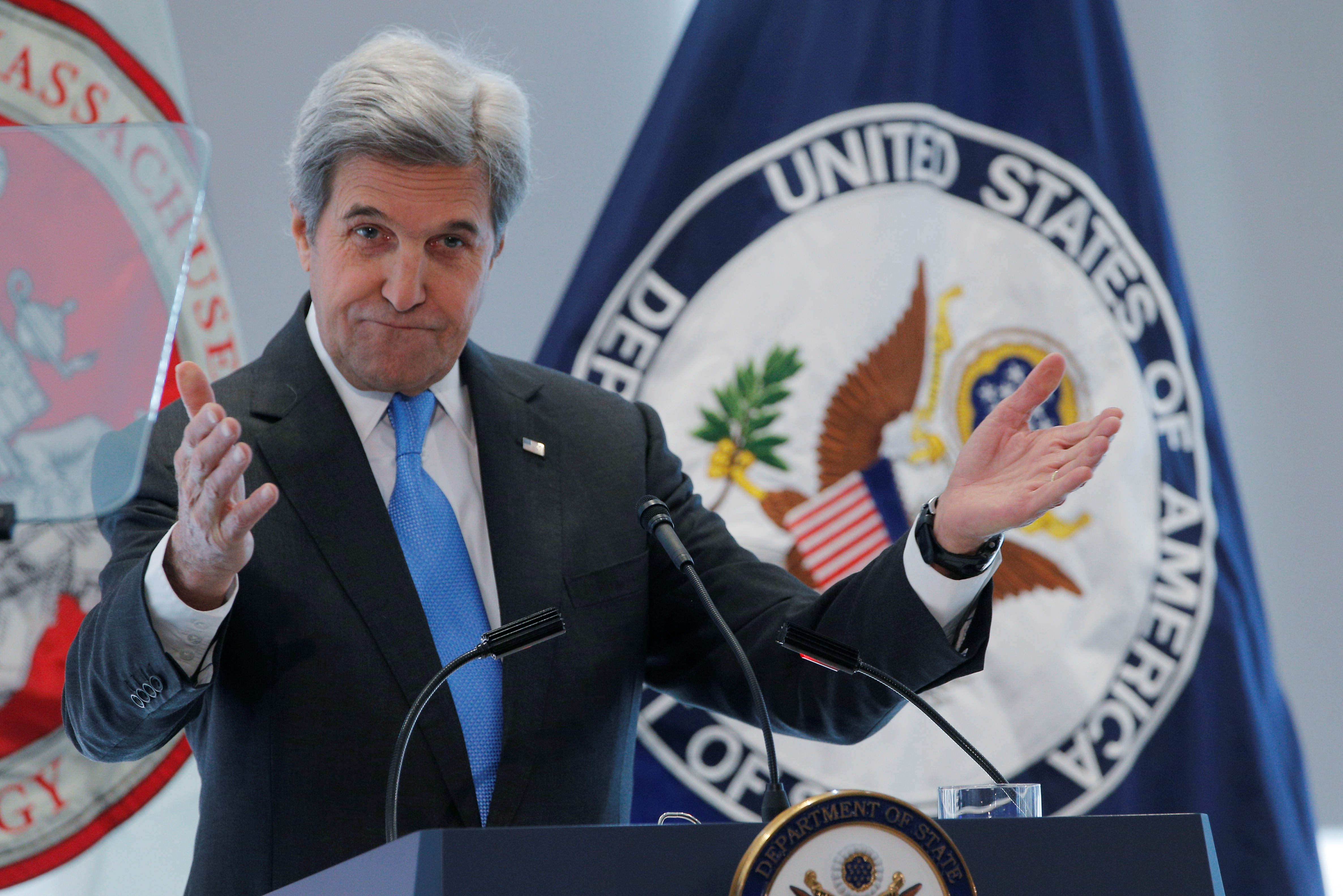 United States Secretary of State John Kerry speaks about climate change at Massachusetts Institute of Technology (MIT) in Cambridge
