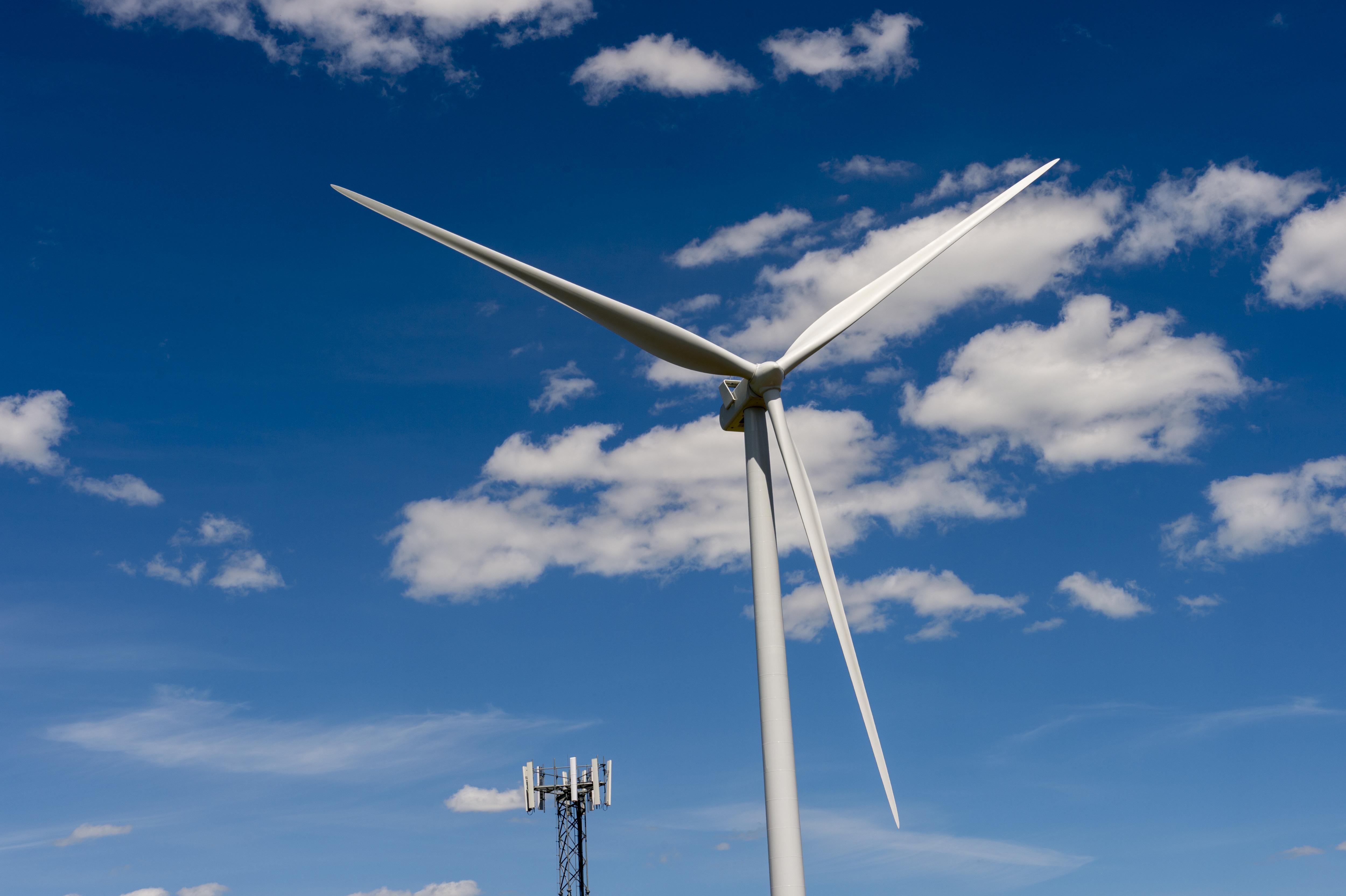 Close-up of wind mill in the Rosalia Wind Farm near Oaksdale