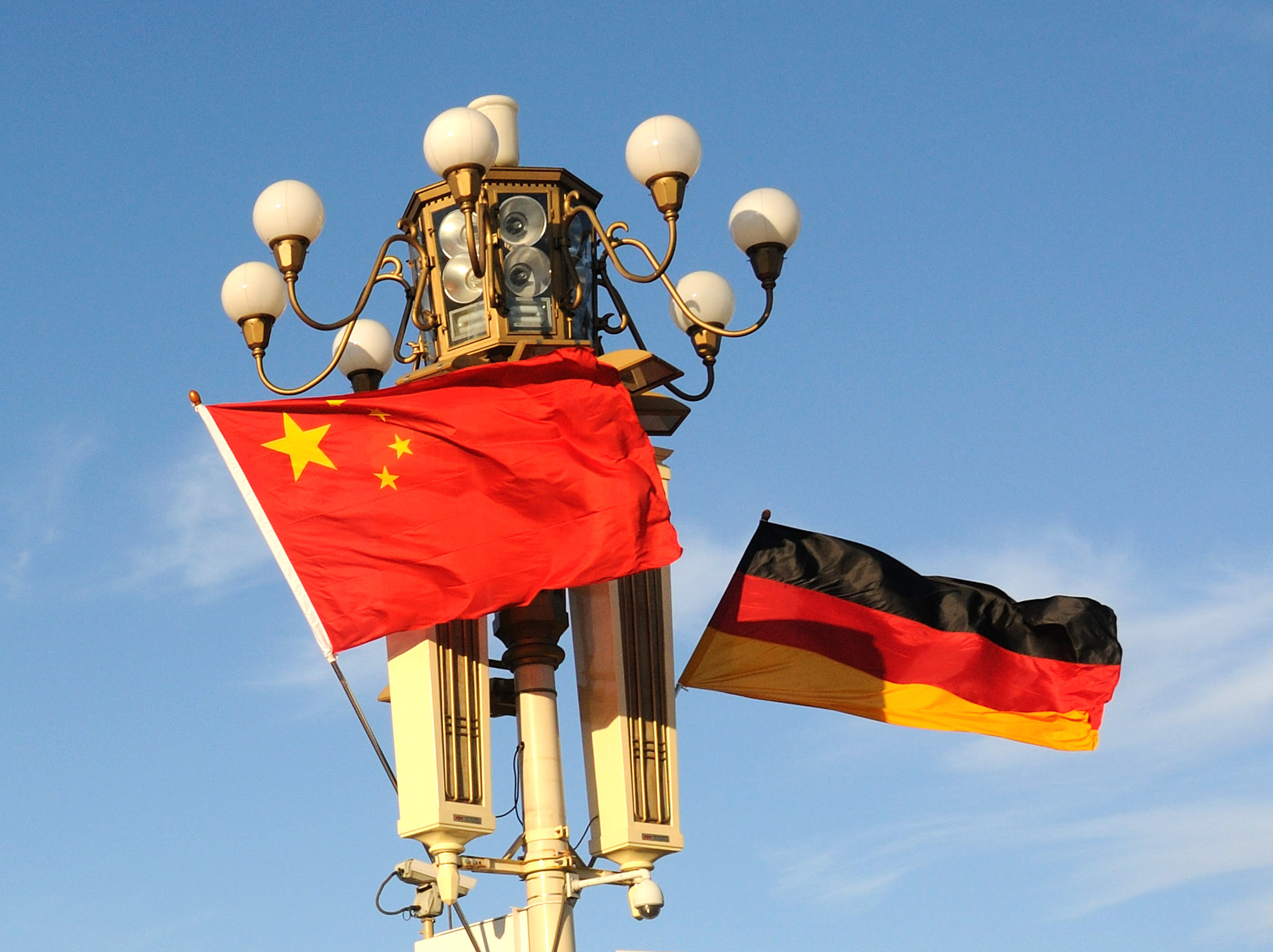 German Flags Decorate On Tian'anmen Square To Welcome Angela Merkel