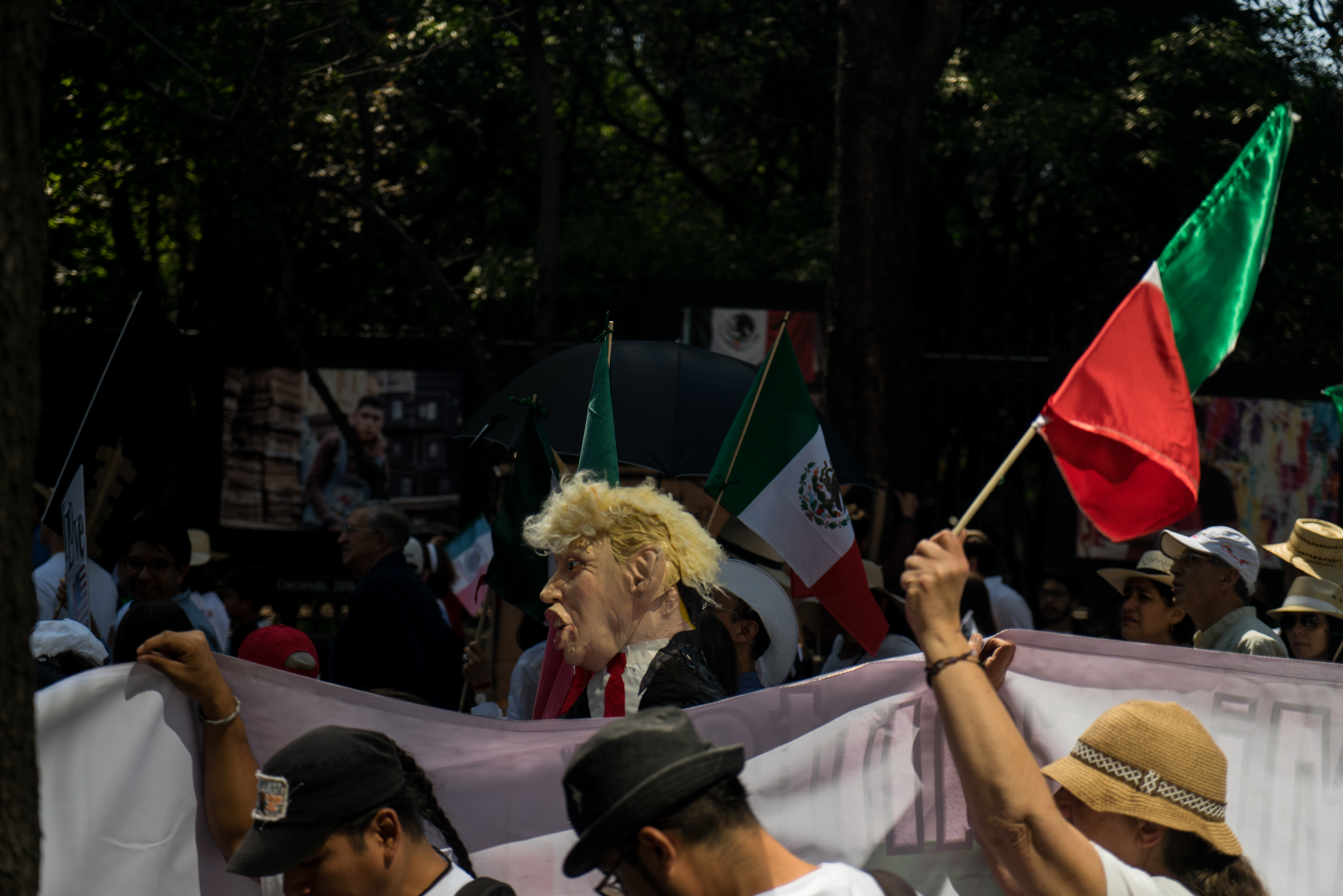Demonstrators March To Demand That The Government Defend Mexico Amid Trump's Threats