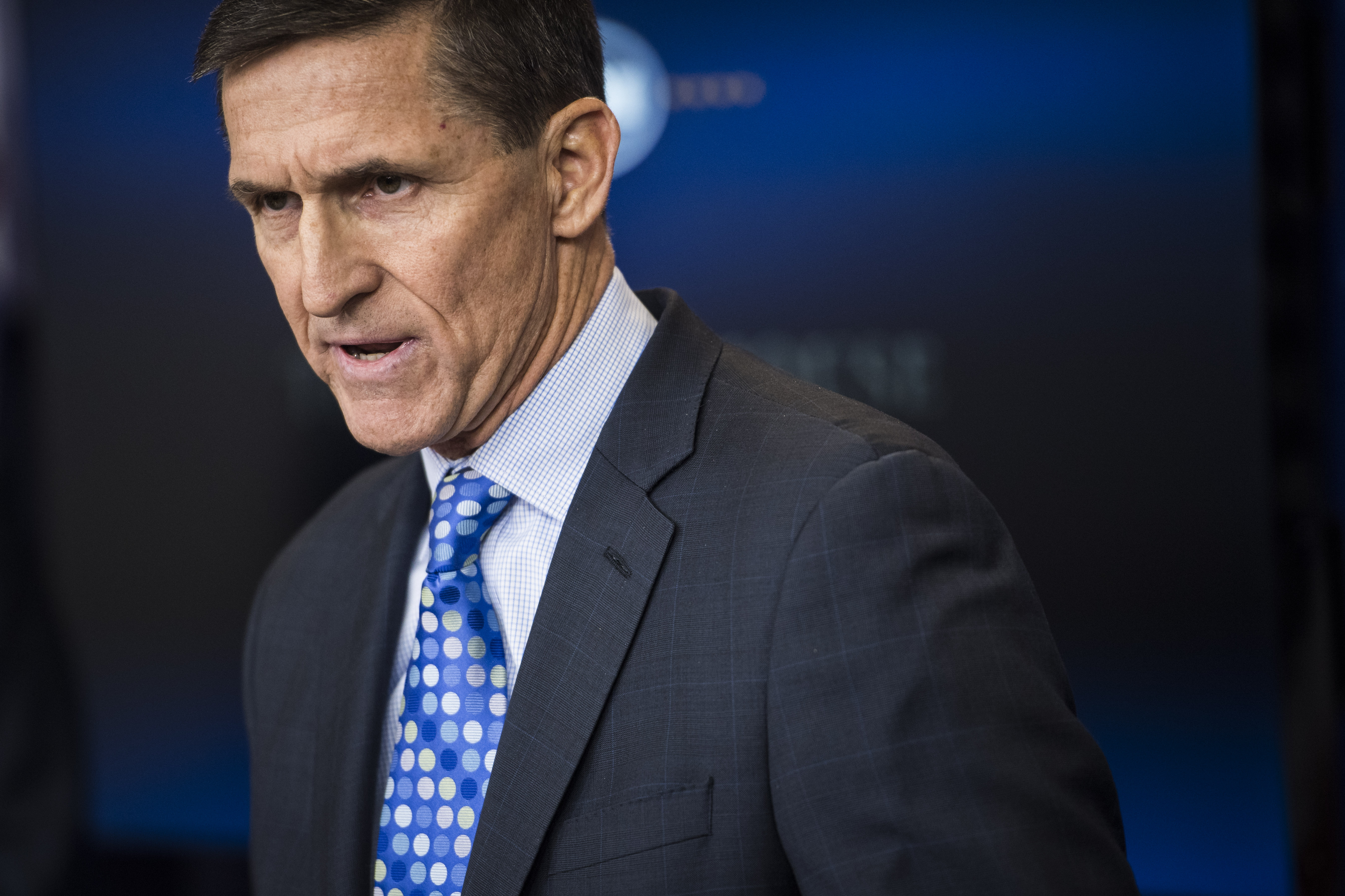 Former National Security Adviser Michael Flynn at the daily news briefing at the White House on Feb. 01, 2017.