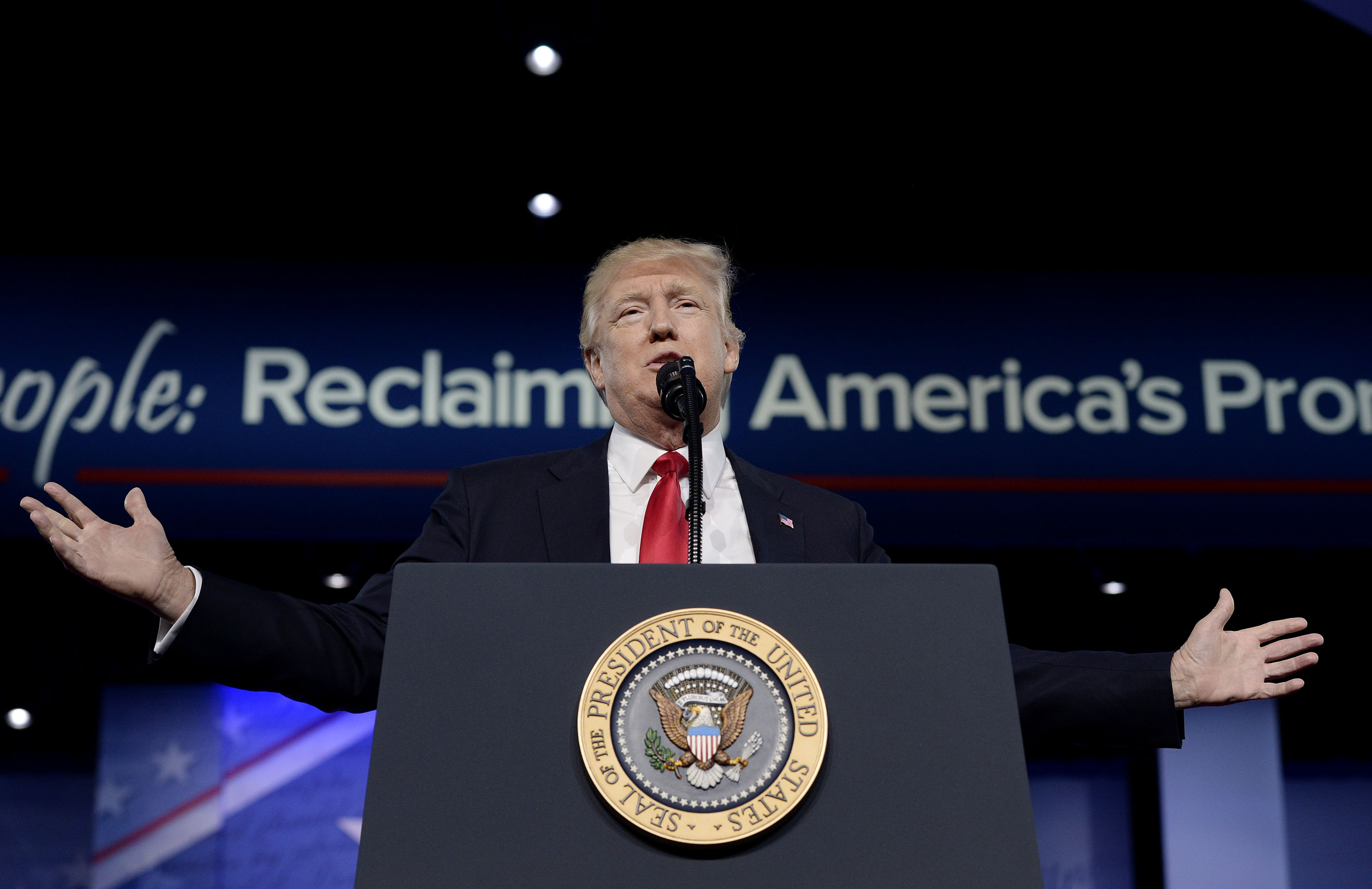 President Trump Addresses Annual CPAC Event In National Harbor, Maryland