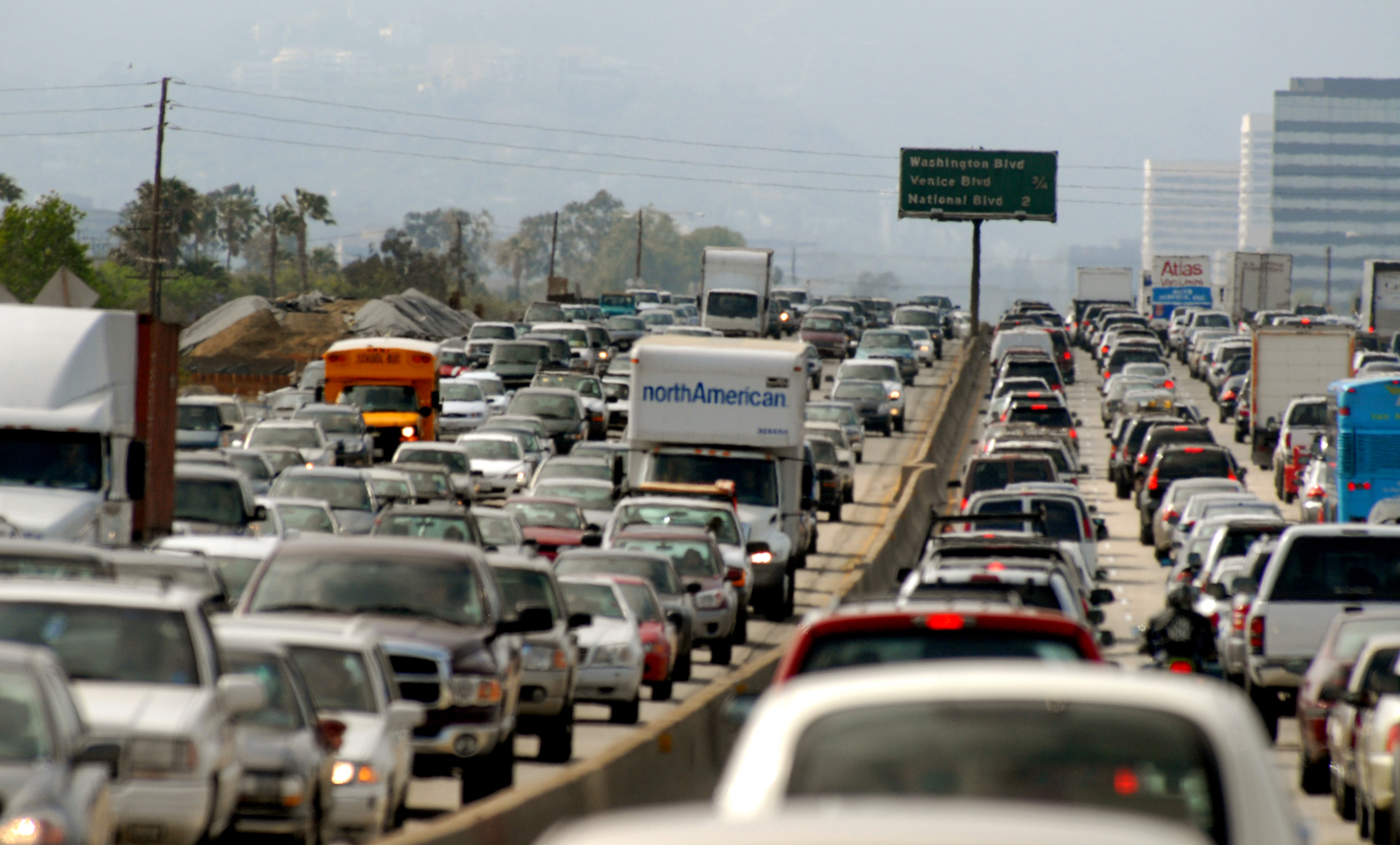 Commuters clog a freeway on Friday, May 18, 2007, in Los Ang