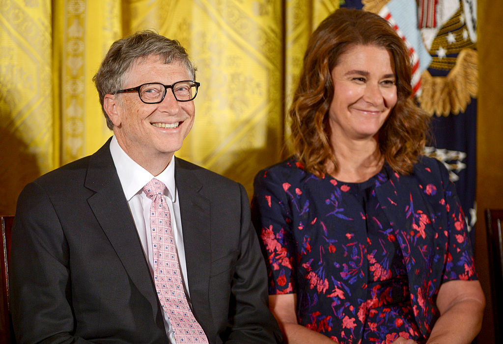 Then-President Barack Obama presents Bill Gates and Melinda Gates with the 2016 Presidential Medal Of Freedom at the White House on Nov. 22, 2016 in Washington, DC.