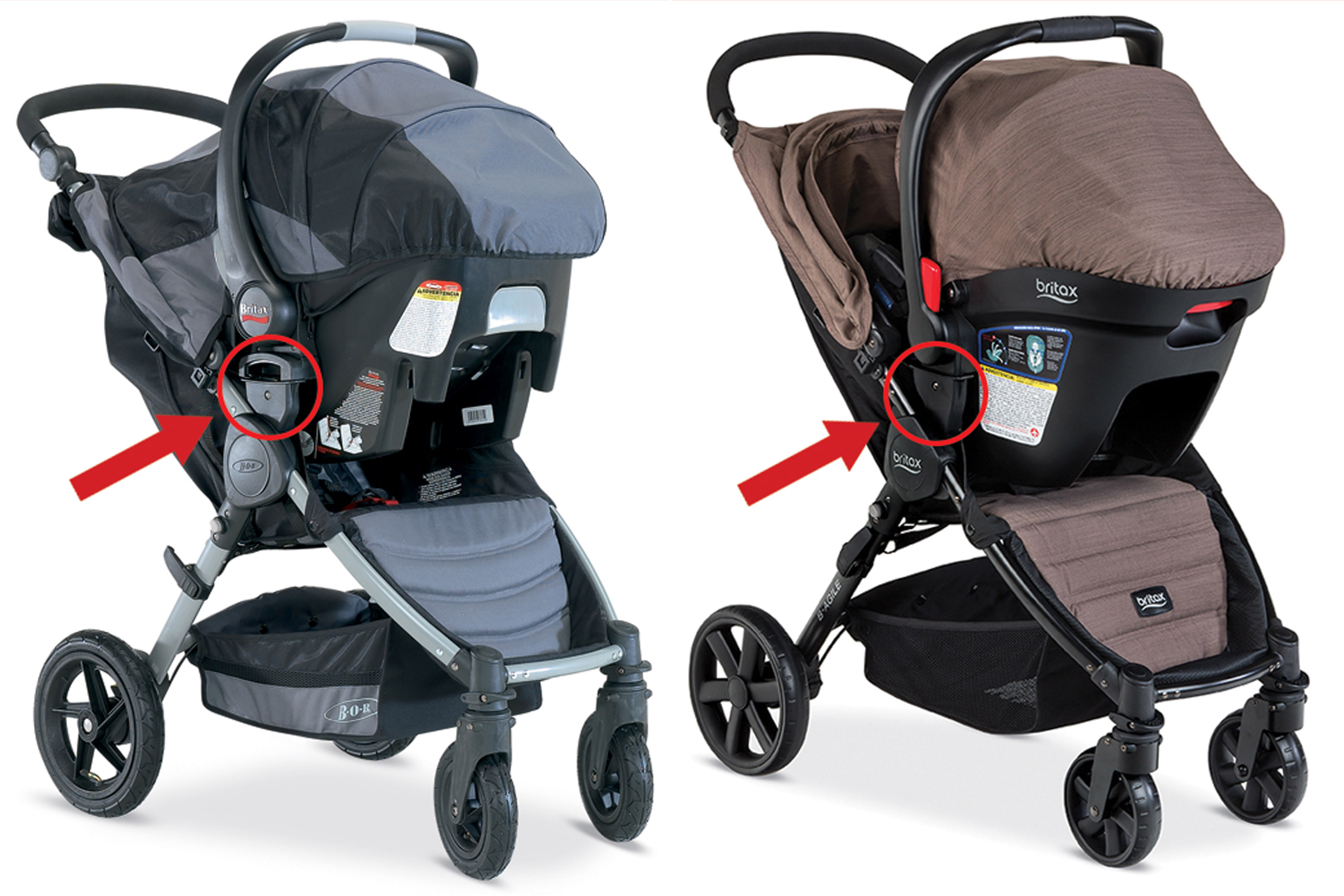 Color variations of the Bob Motion and B-Agile strollers.