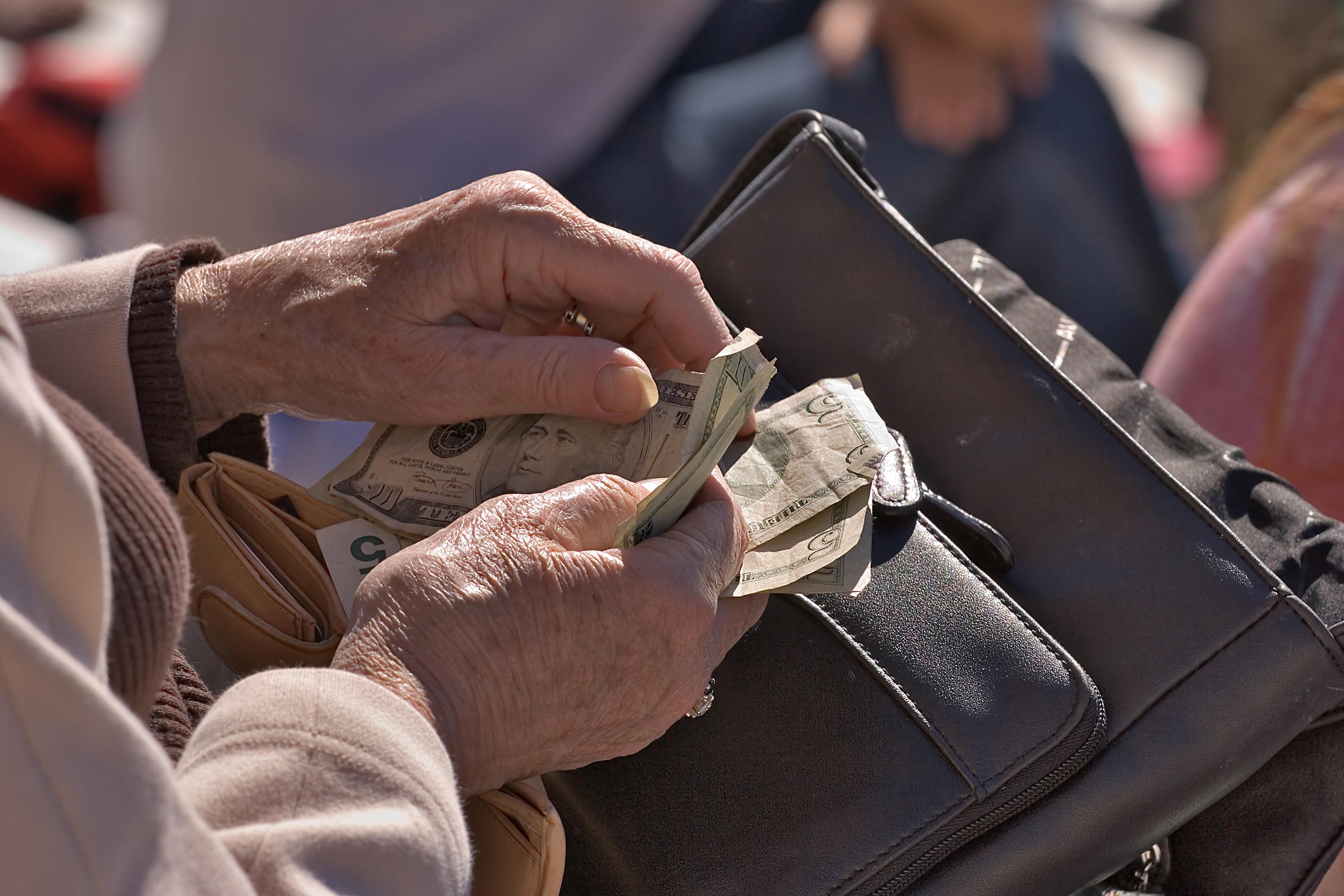 Elderly Woman counting money