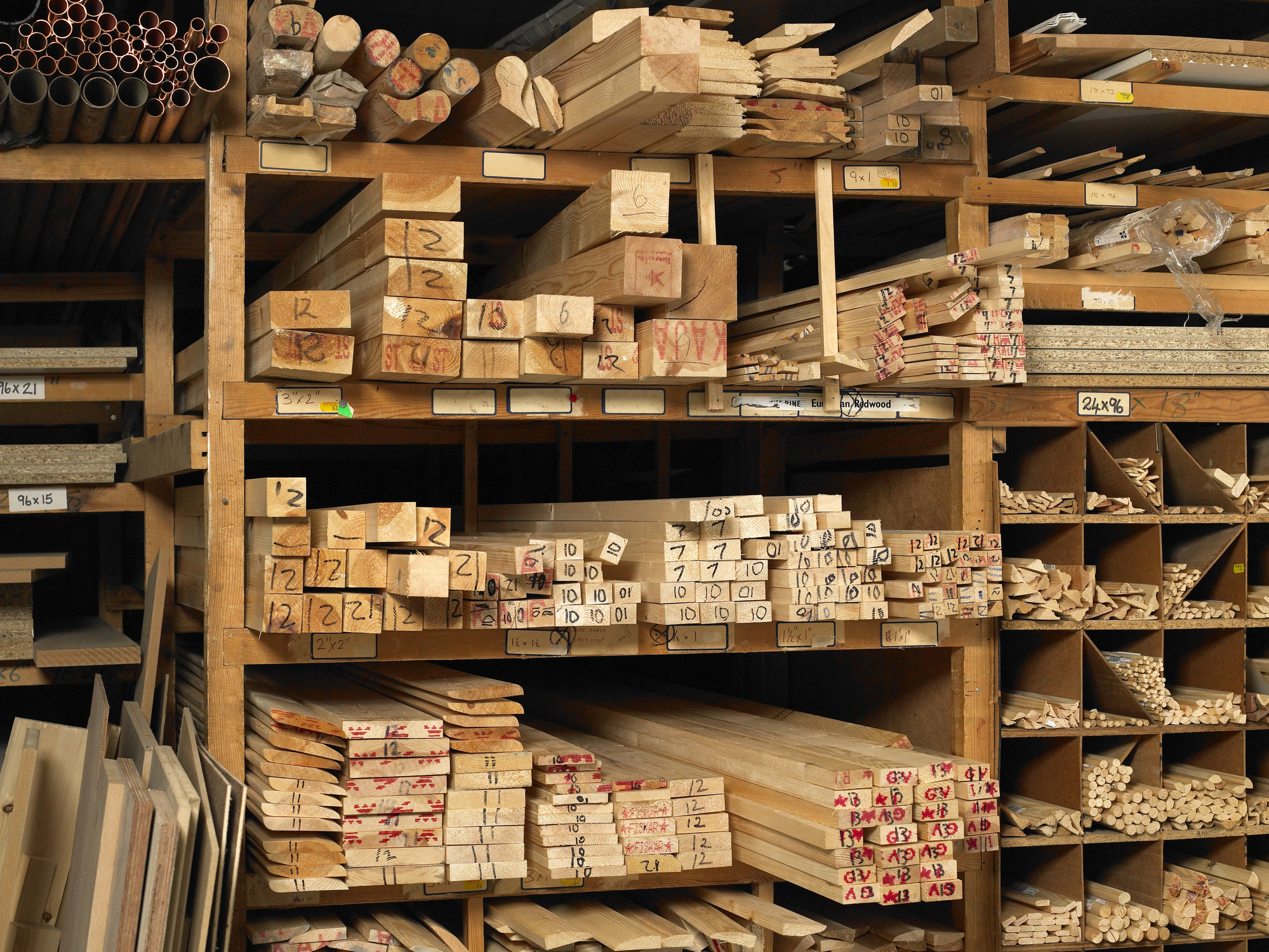 Planks of wood on shelves