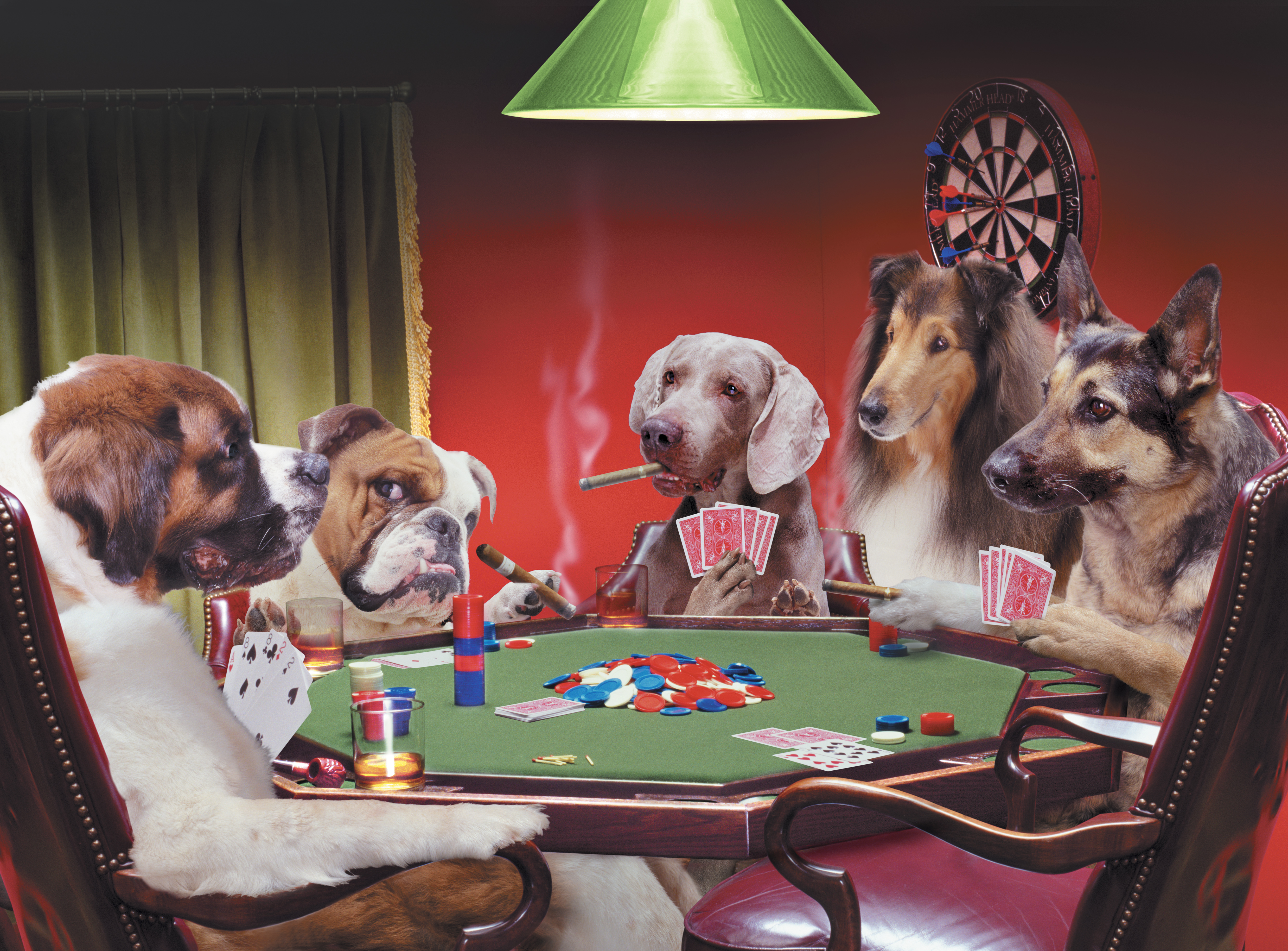 Dogs at table playing poker