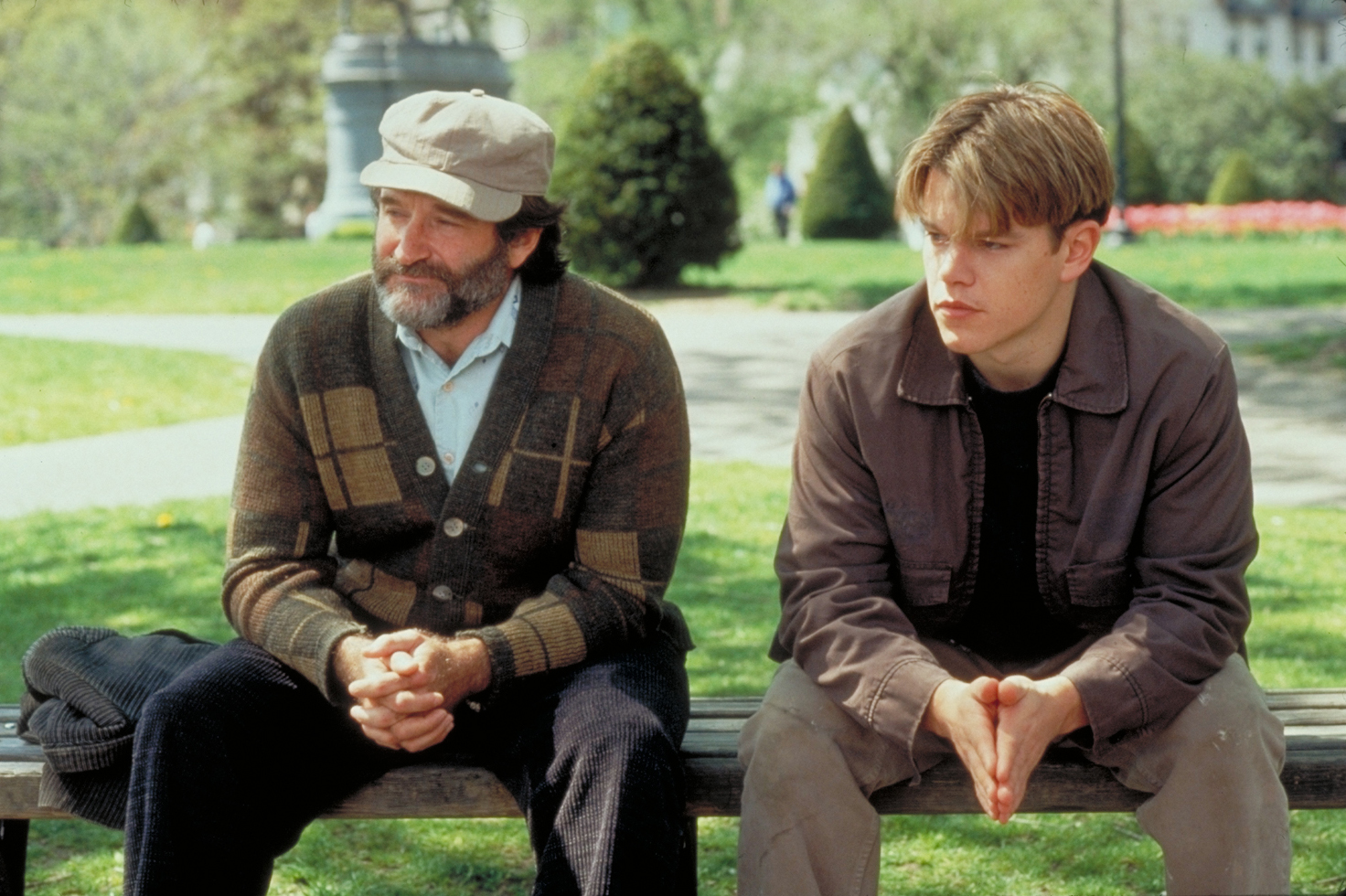 Robin Williams and Matt Damon filming 'Good Will Hunting'.