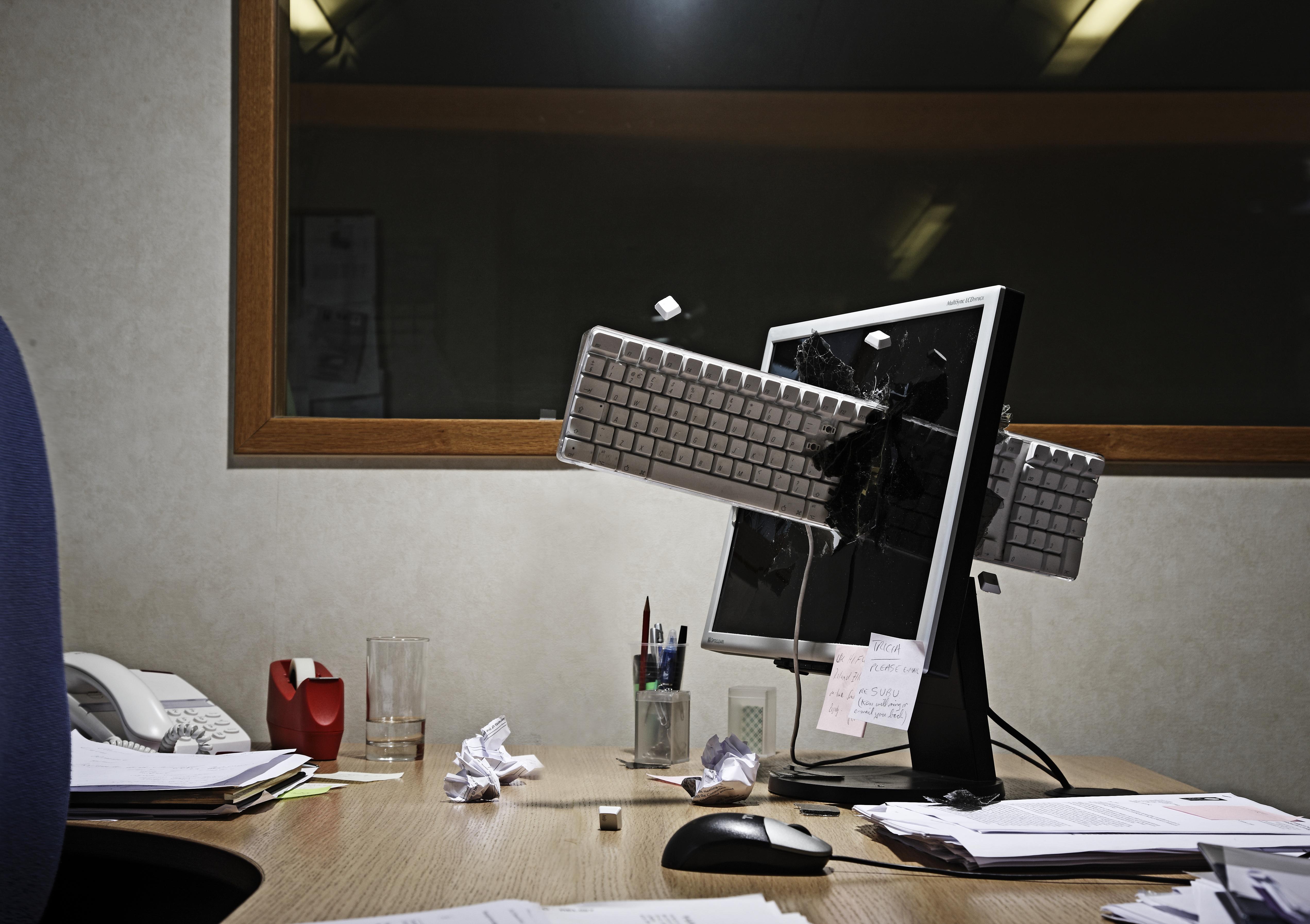 computer keyboard smashed through screen