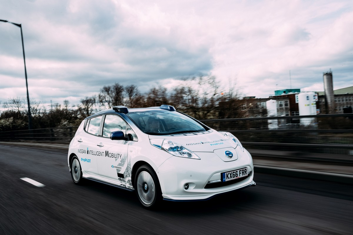 Nissan conducted a public test of its autonomous vehicle technology in London on Monday, February 27, 2017.