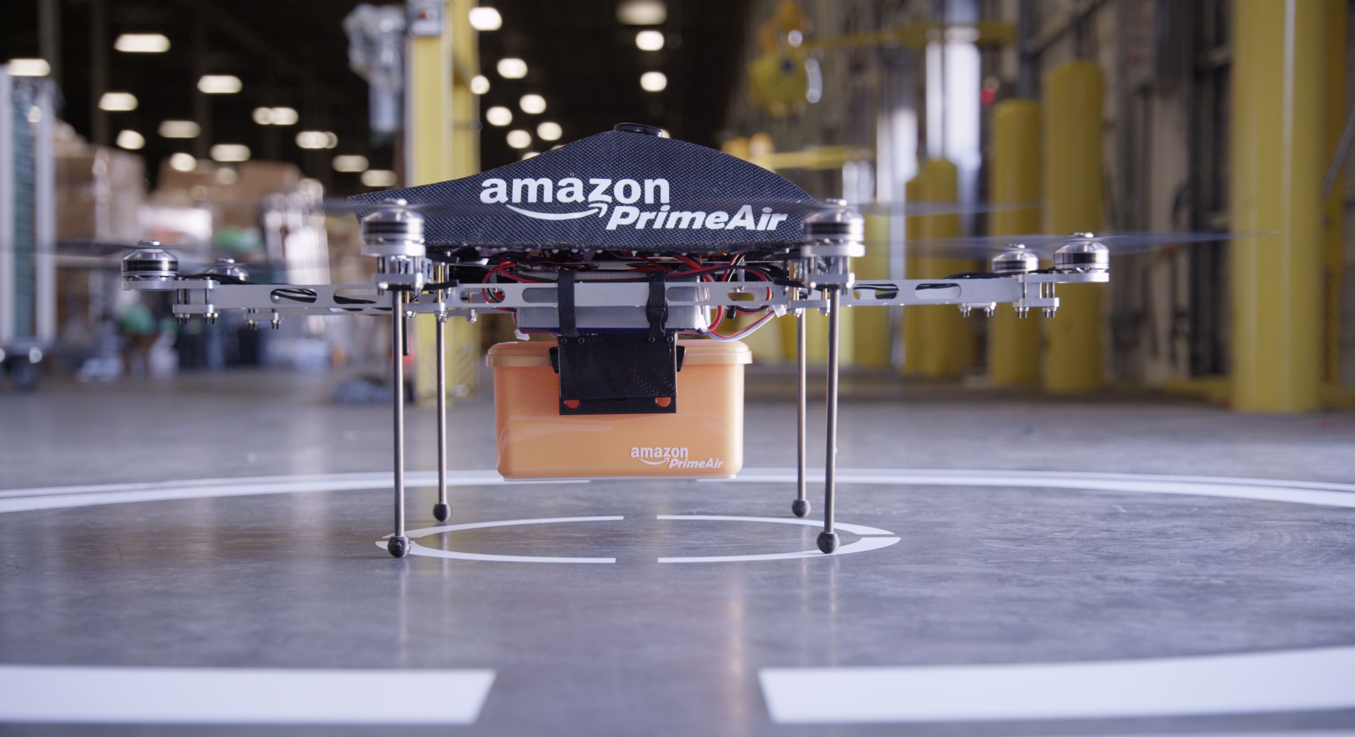 Prime Air — a delivery system from Amazon designed to safely get packages to customers in 30 minutes or less using unmanned aerial vehicles, also called drones.