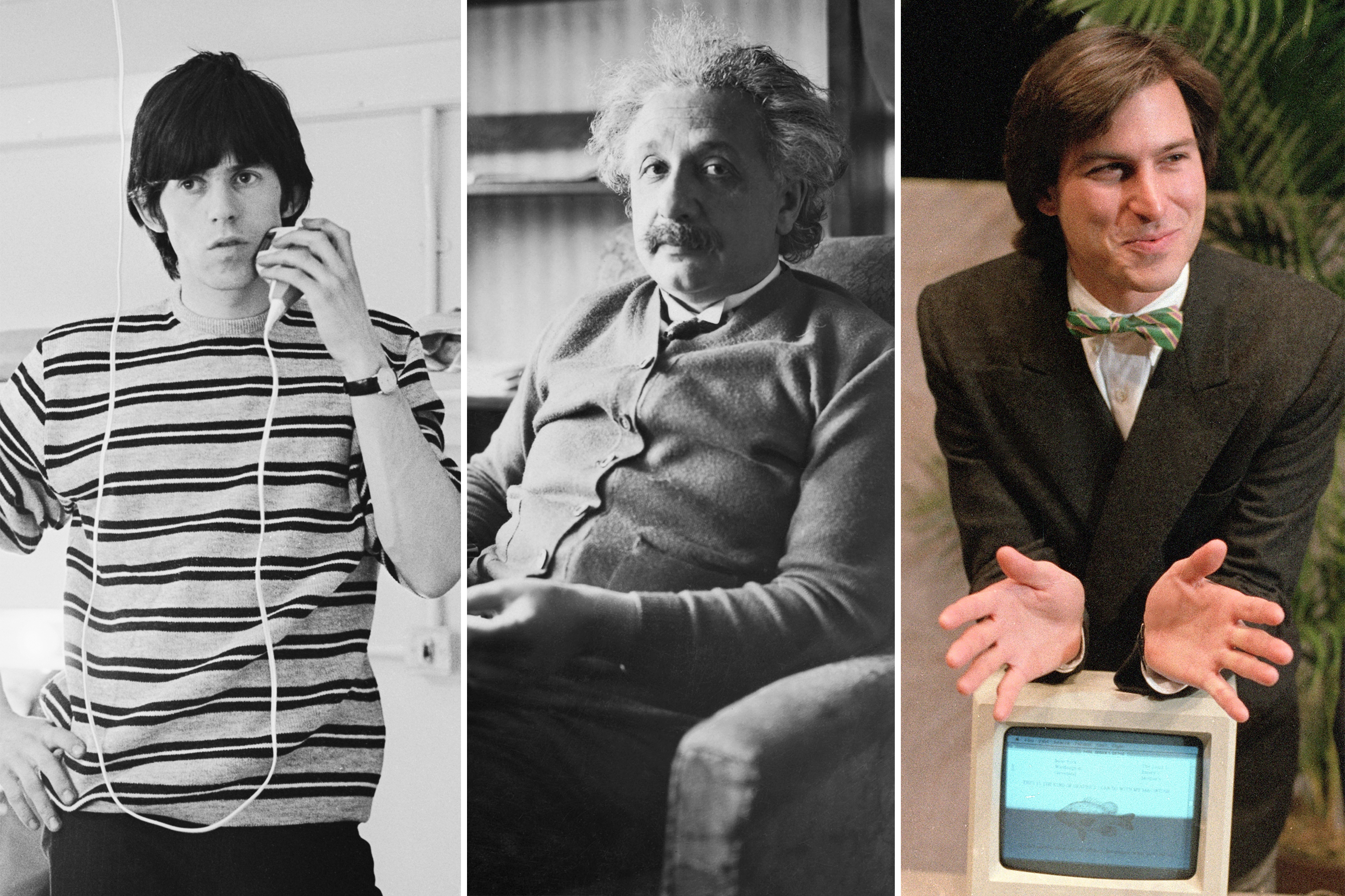 Left, Keith Richards, Albert Einstein, and Steve Jobs