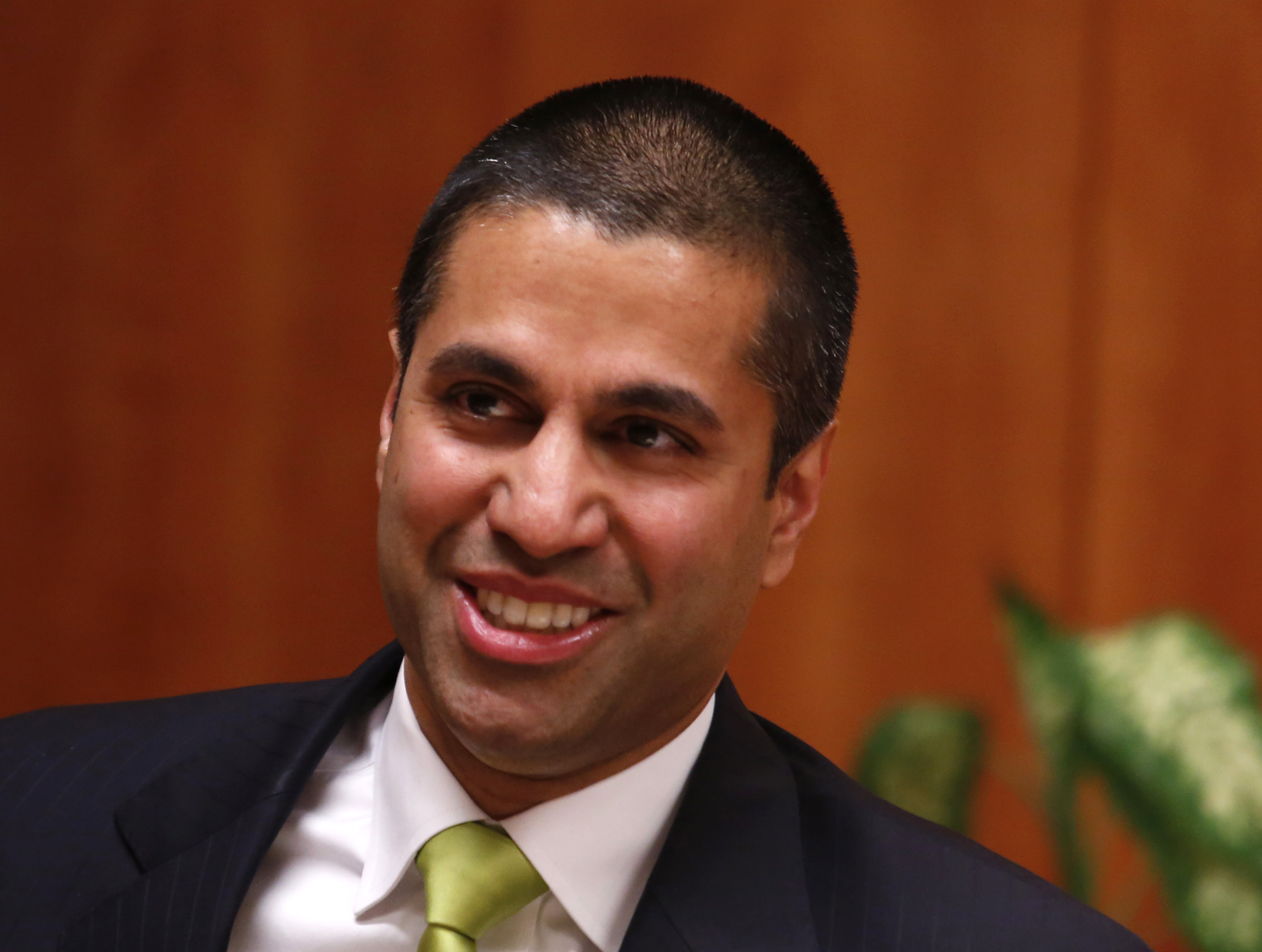 Federal Communications Commission (FCC) commissioner Ajit Pai arrives at a FCC Net Neutrality hearing