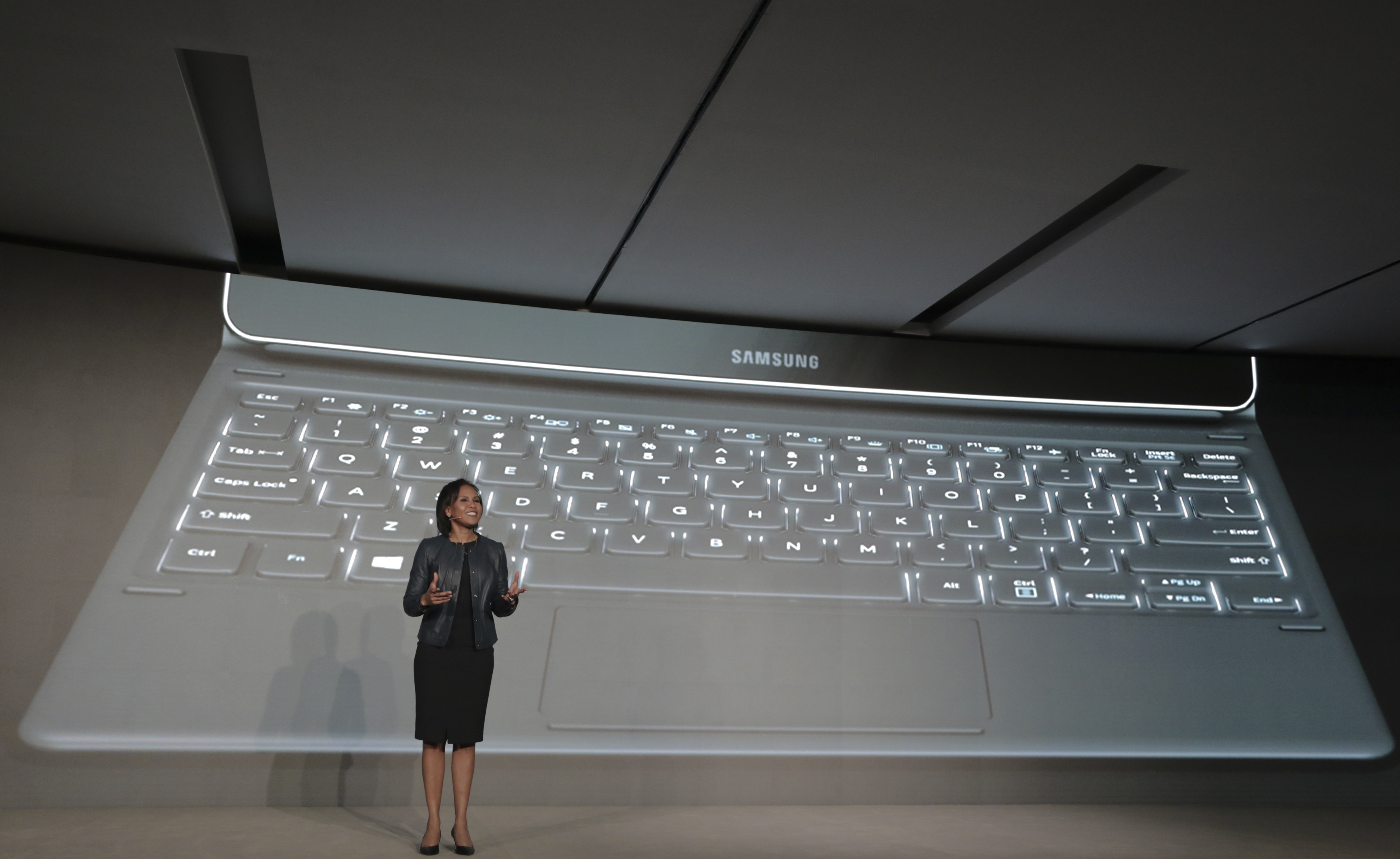 Cotton, Vice President of Samsung America, speaks during an event at Mobile World Congress in Barcelona