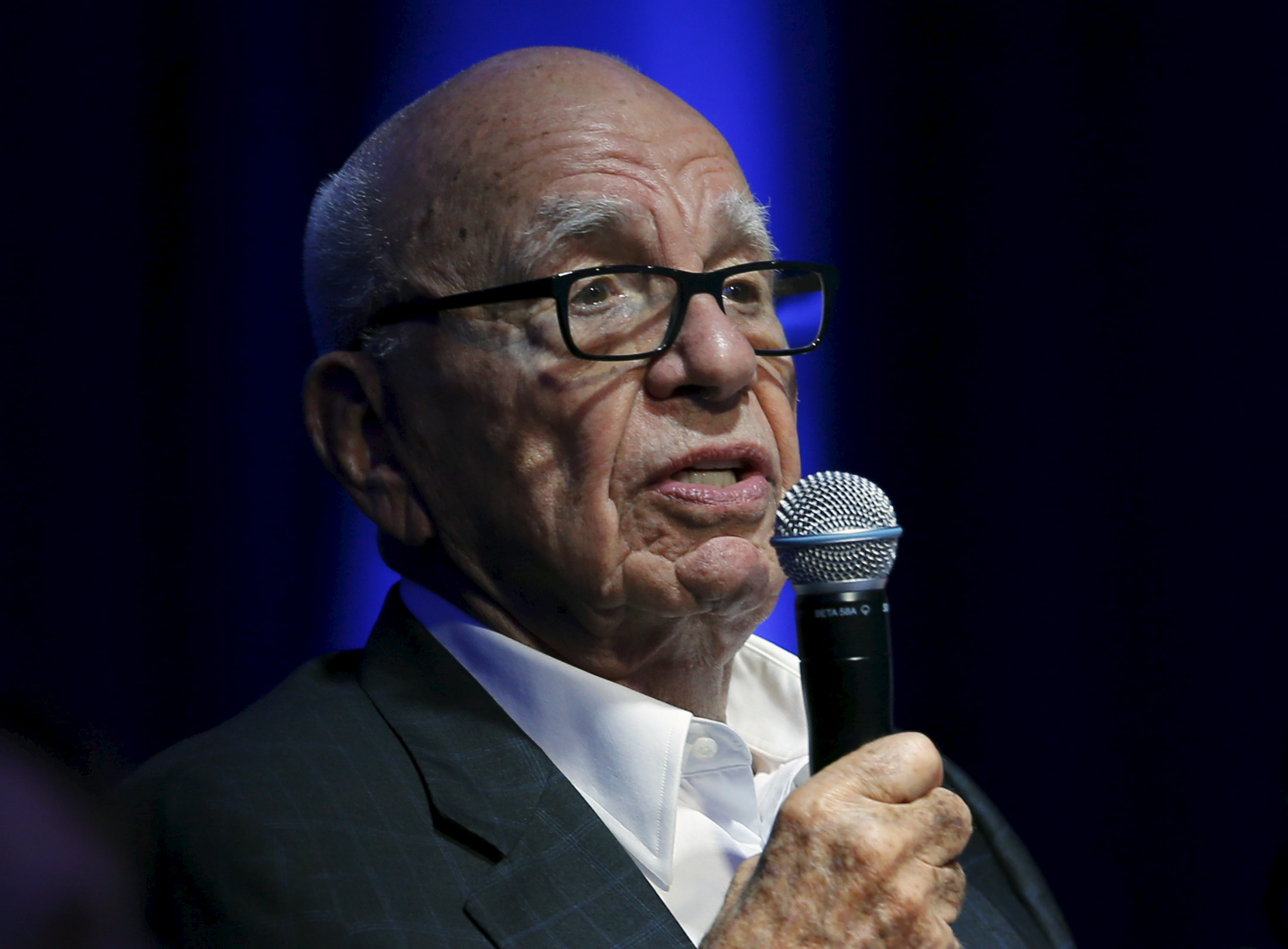 Murdoch takes part as a judge during a global start up showcase during the WSJDLive conference in Laguna Beach