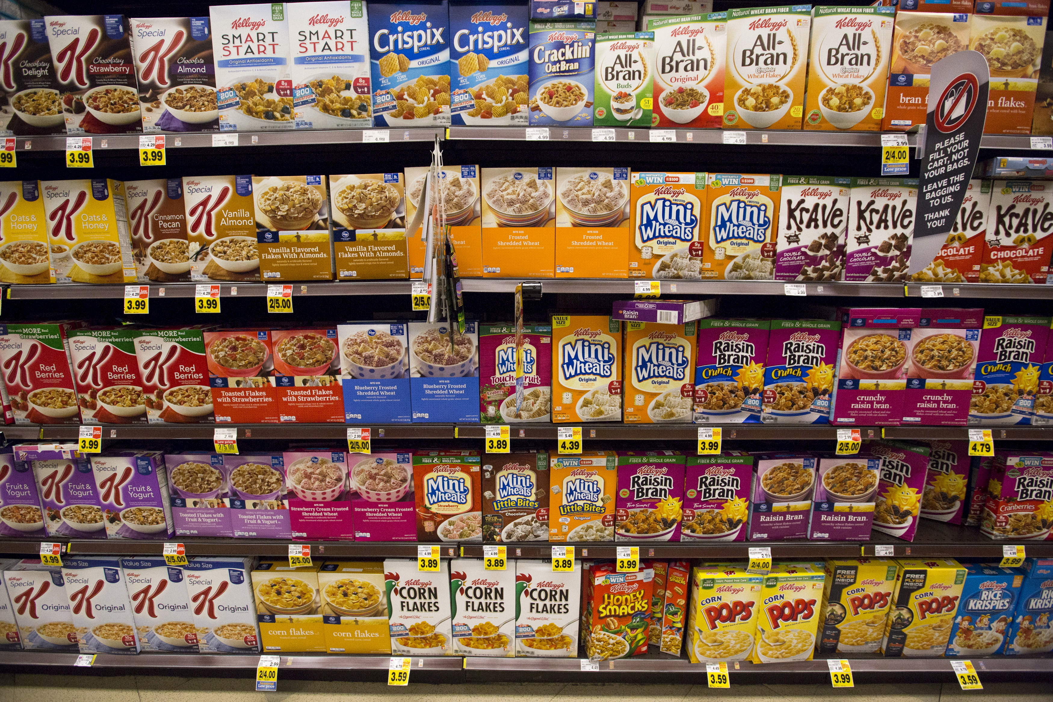 Various types of Kellogg's cereals are pictured at a Ralphs grocery store in Pasadena