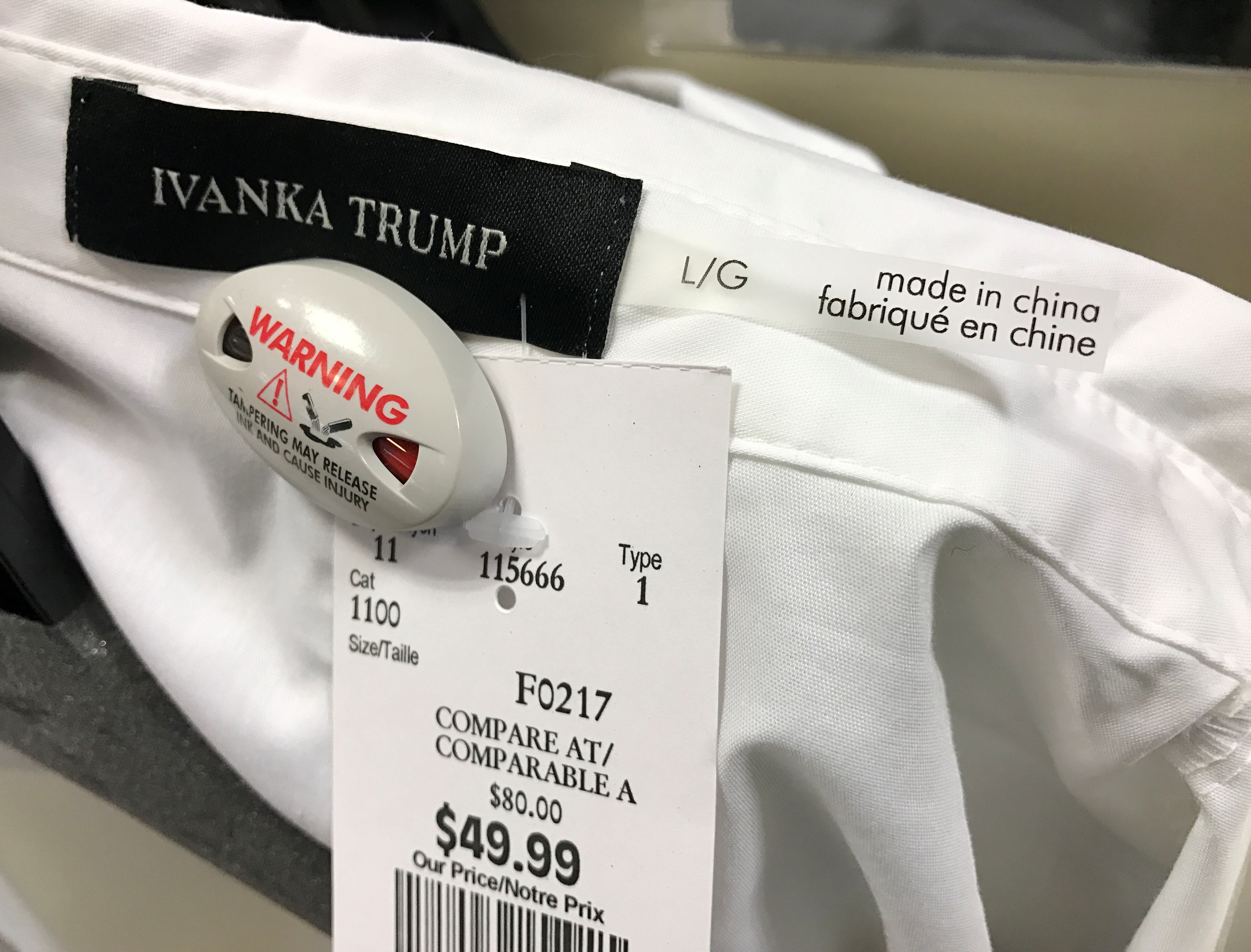 An Ivanka Trump-branded blouse is seen for sale at off-price retailer Winners in Toronto