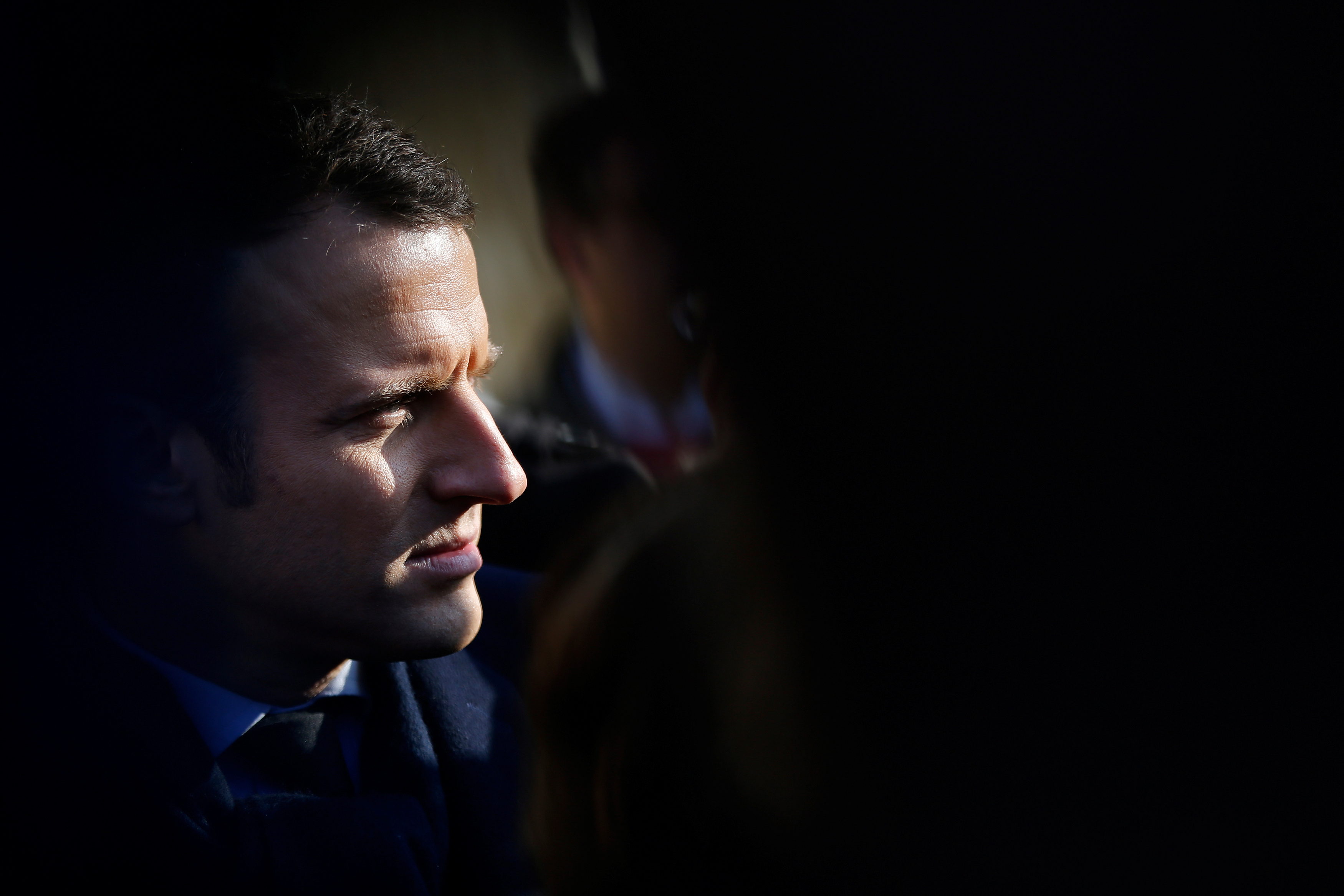 Emmanuel Macron, head of the political movement En Marche !, or Onwards !, and candidate for the 2017 presidential election, attends a visit in a farm in Montlouis-sur-Loire near Tours
