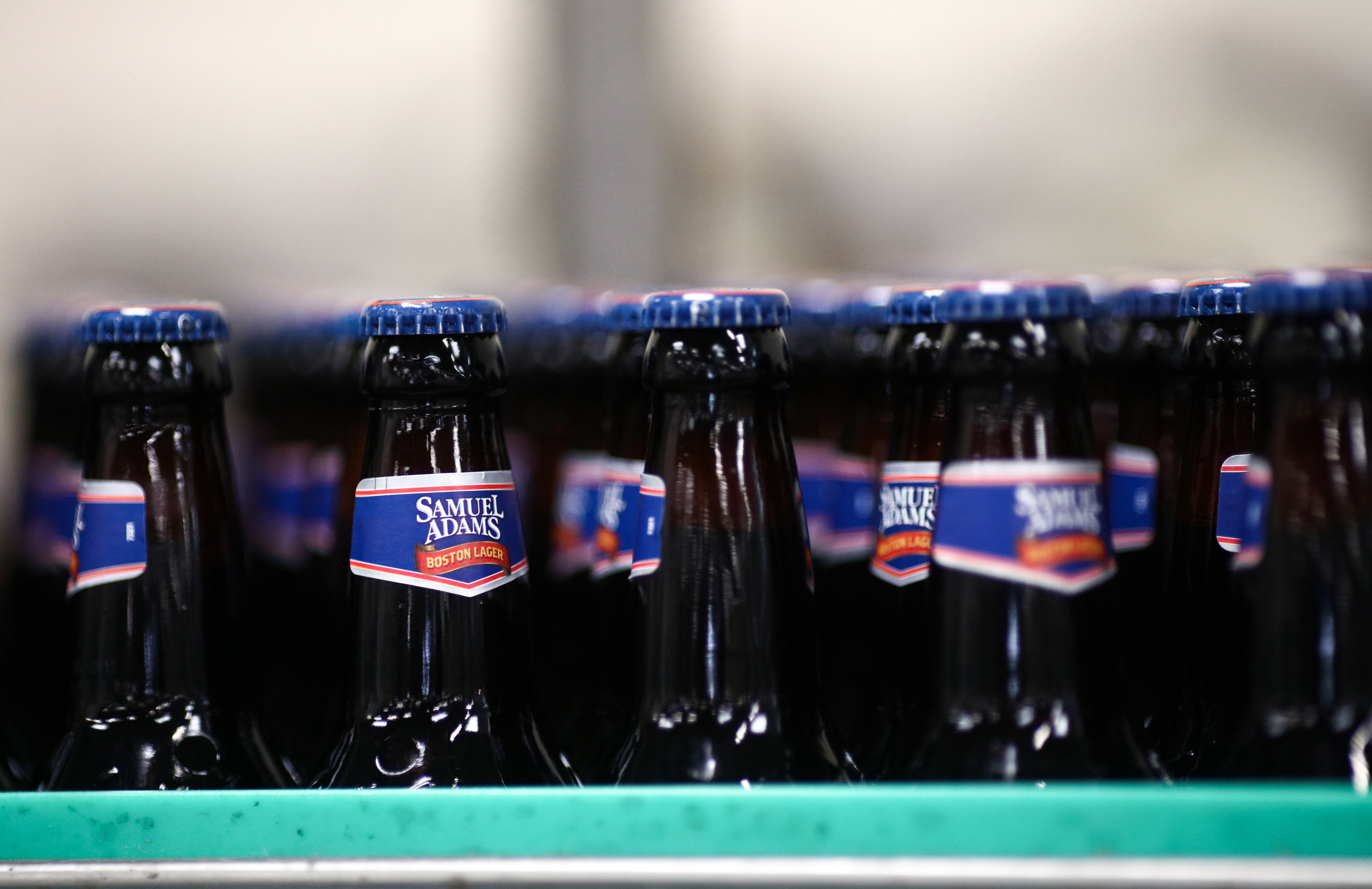 Samuel Adams Boston Lager On The Production Line At Shepherd Neame Plc Brewery